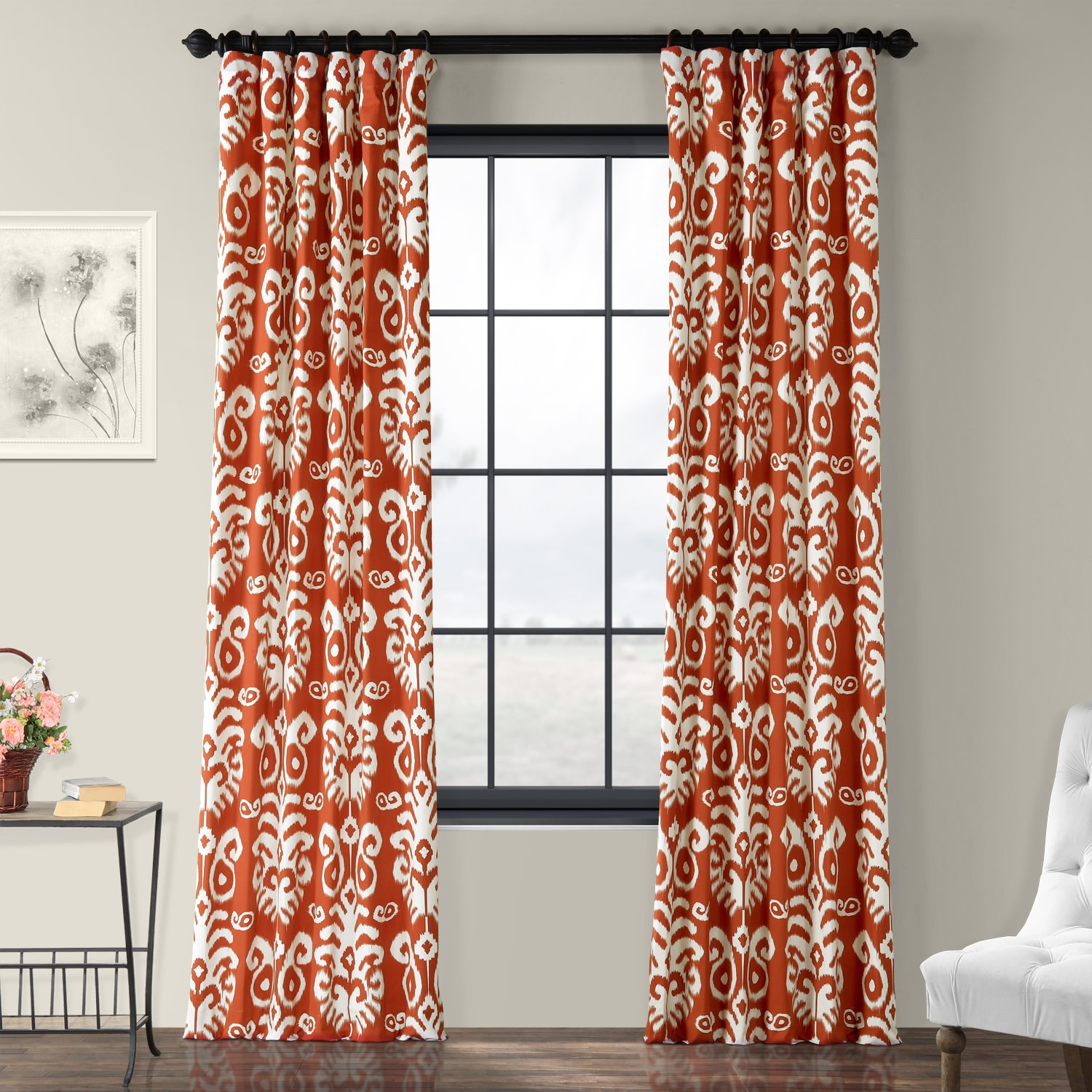 Sri Lanka Rust Printed Cotton Twill Curtain