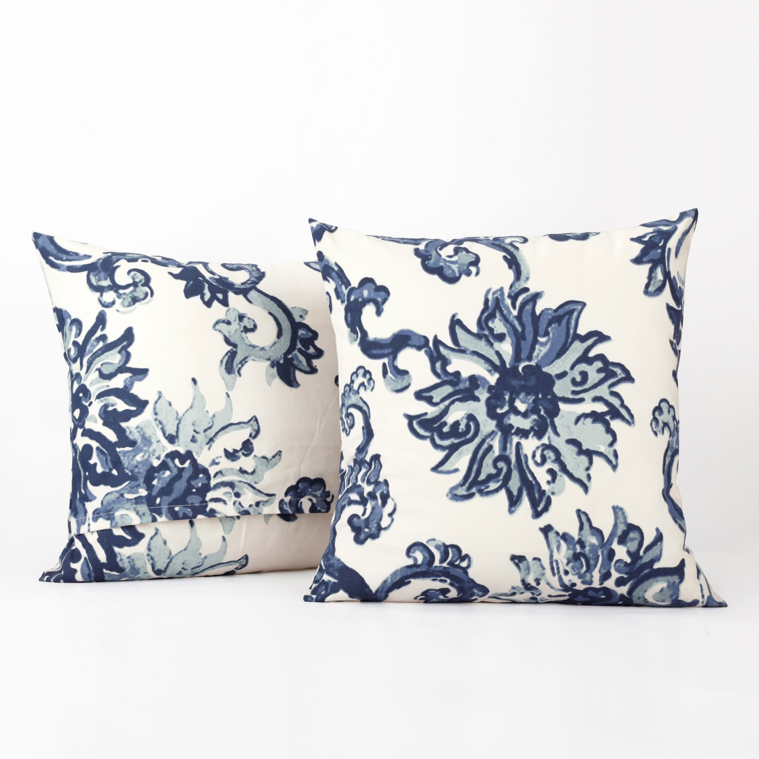 Indonesian Blue Printed Cotton Cushion Covers - PAIR