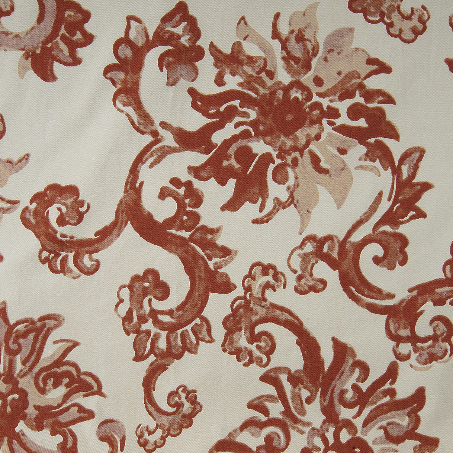 Indonesian Rust Printed Cotton Twill Swatch