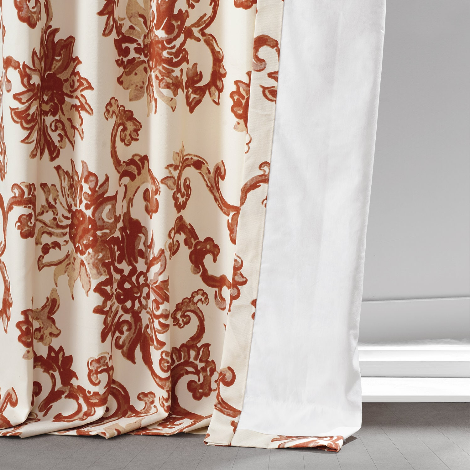 Indonesian Rust Printed Cotton Twill Curtain
