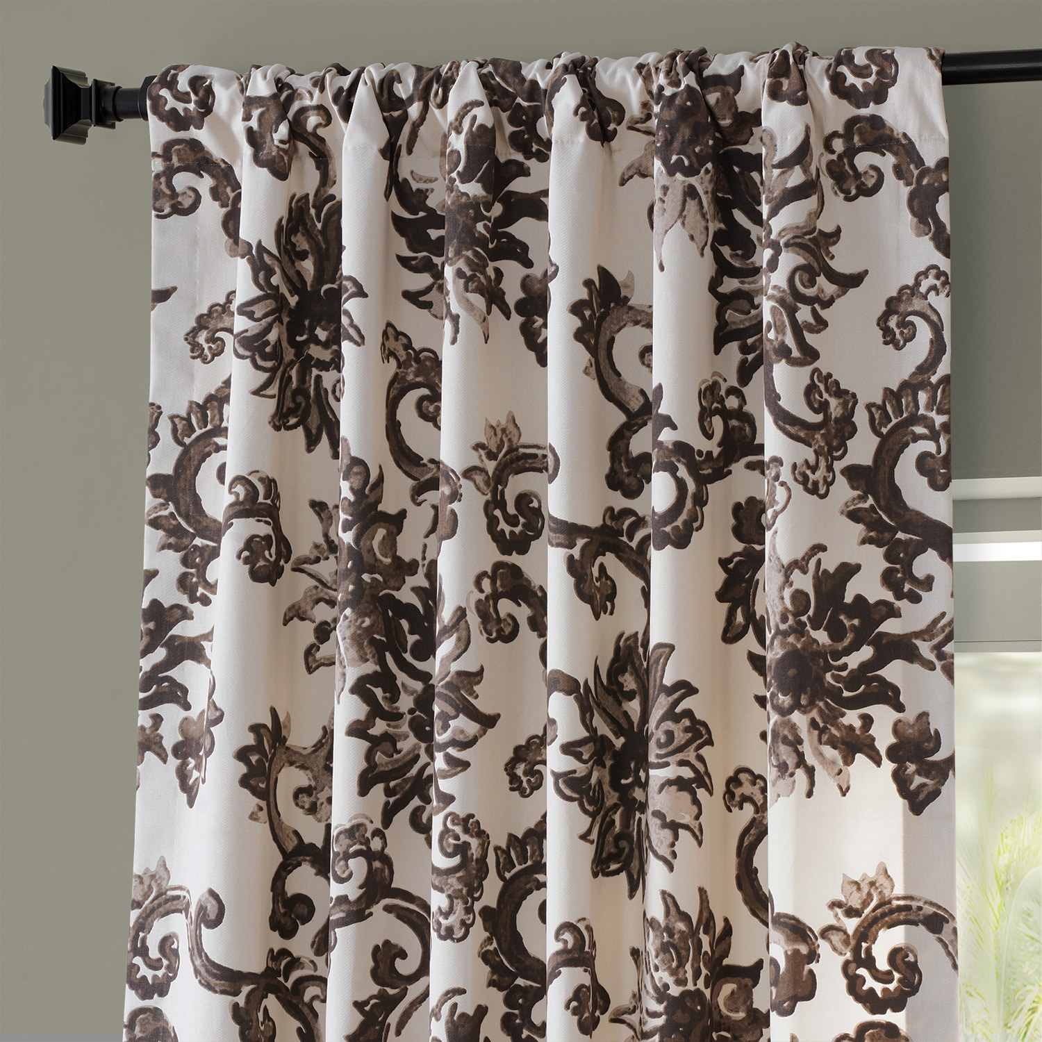 Indonesian Brown Printed Cotton Twill Curtain