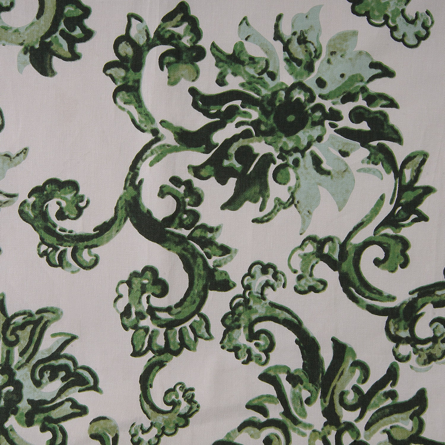 Indonesian Green Printed Cotton Twill Swatch