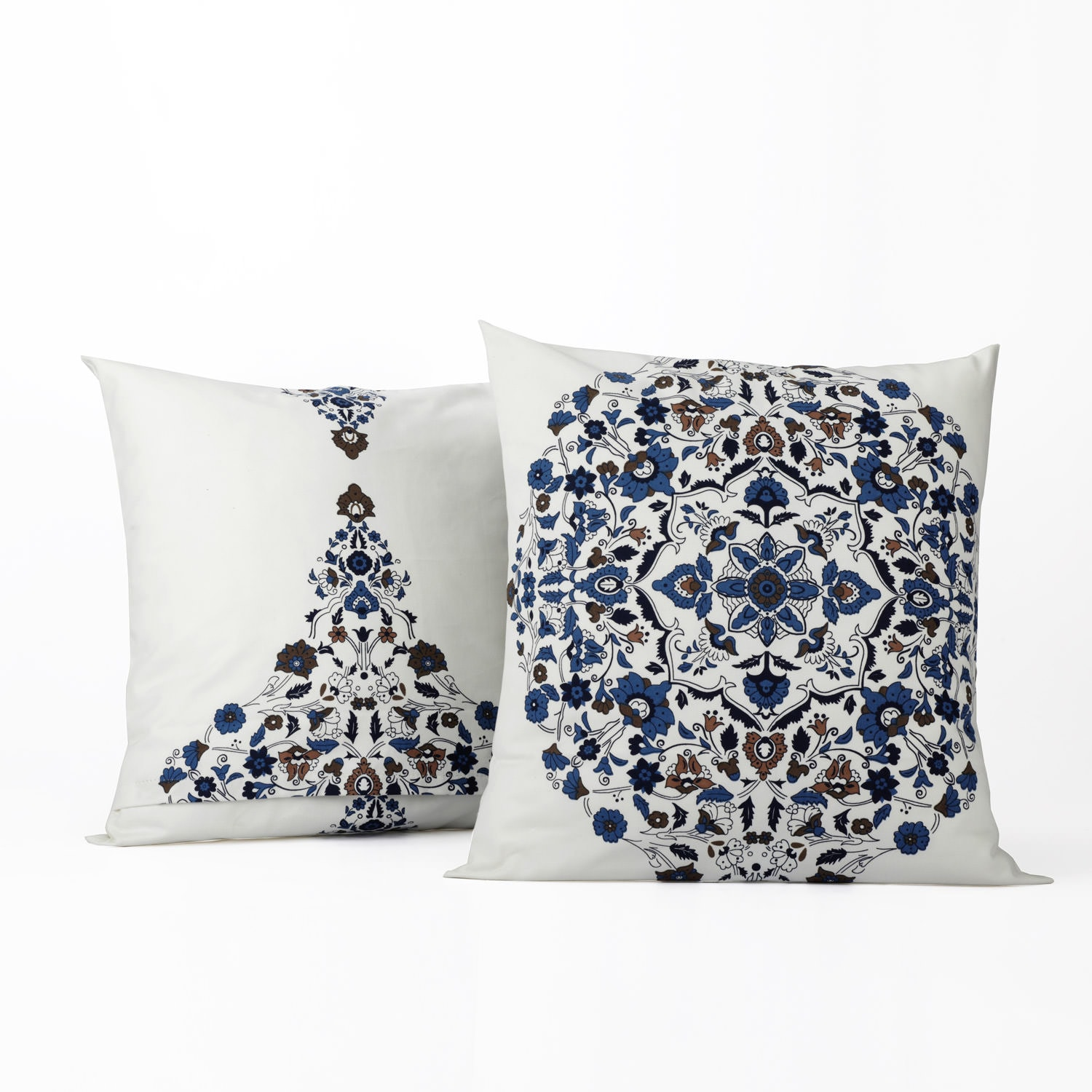 Kerala Blue Printed Cotton Cushion Covers - PAIR