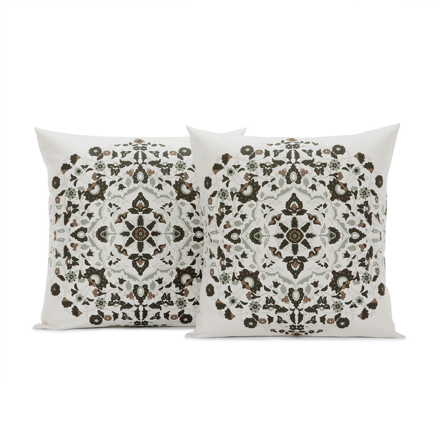 Kerala Cocoa Printed Cotton Cushion Covers - PAIR