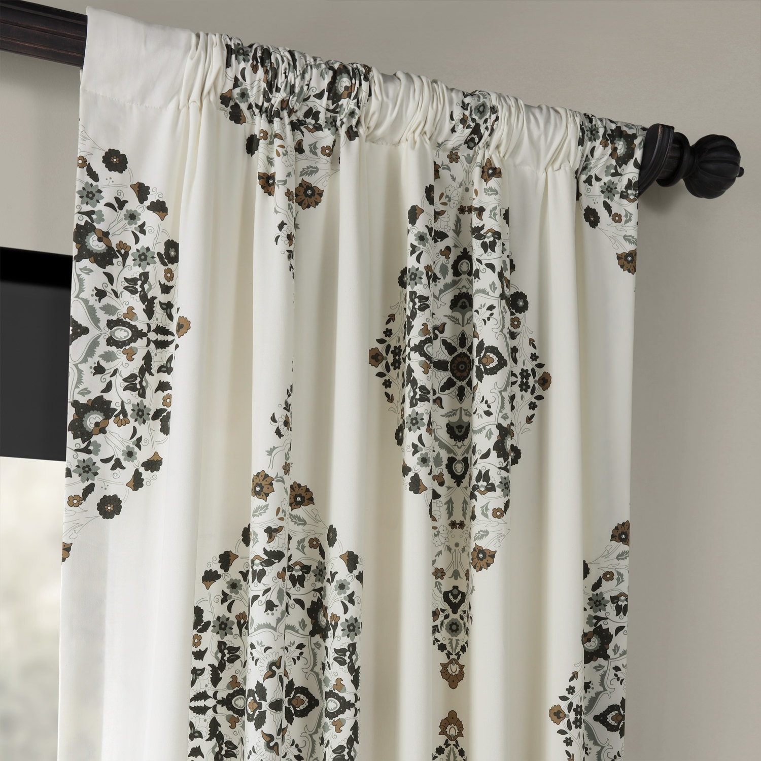 Kerala Cocoa Printed Cotton Twill Curtain