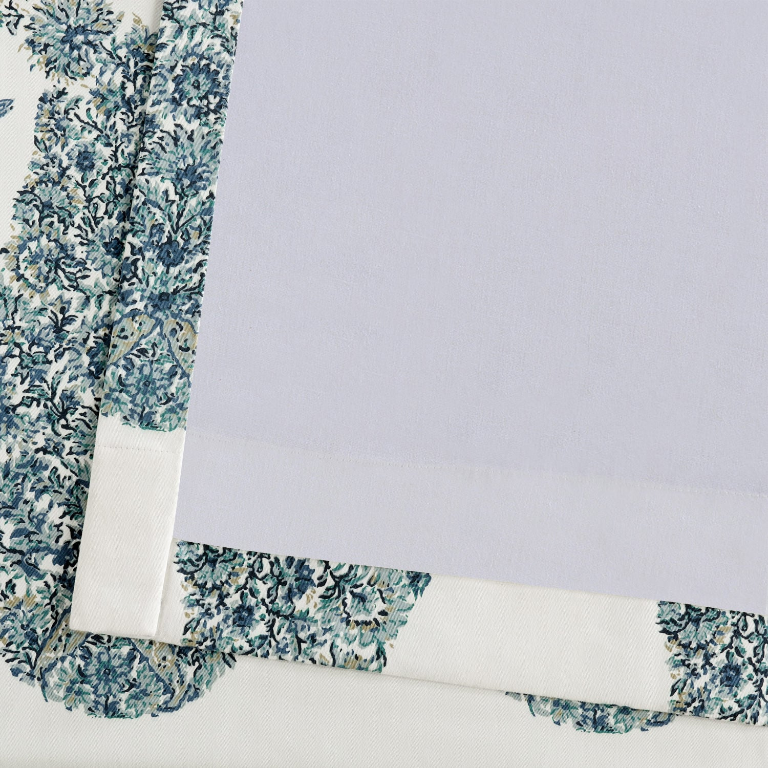 Paisley Park Blue Printed Cotton Twill Curtain