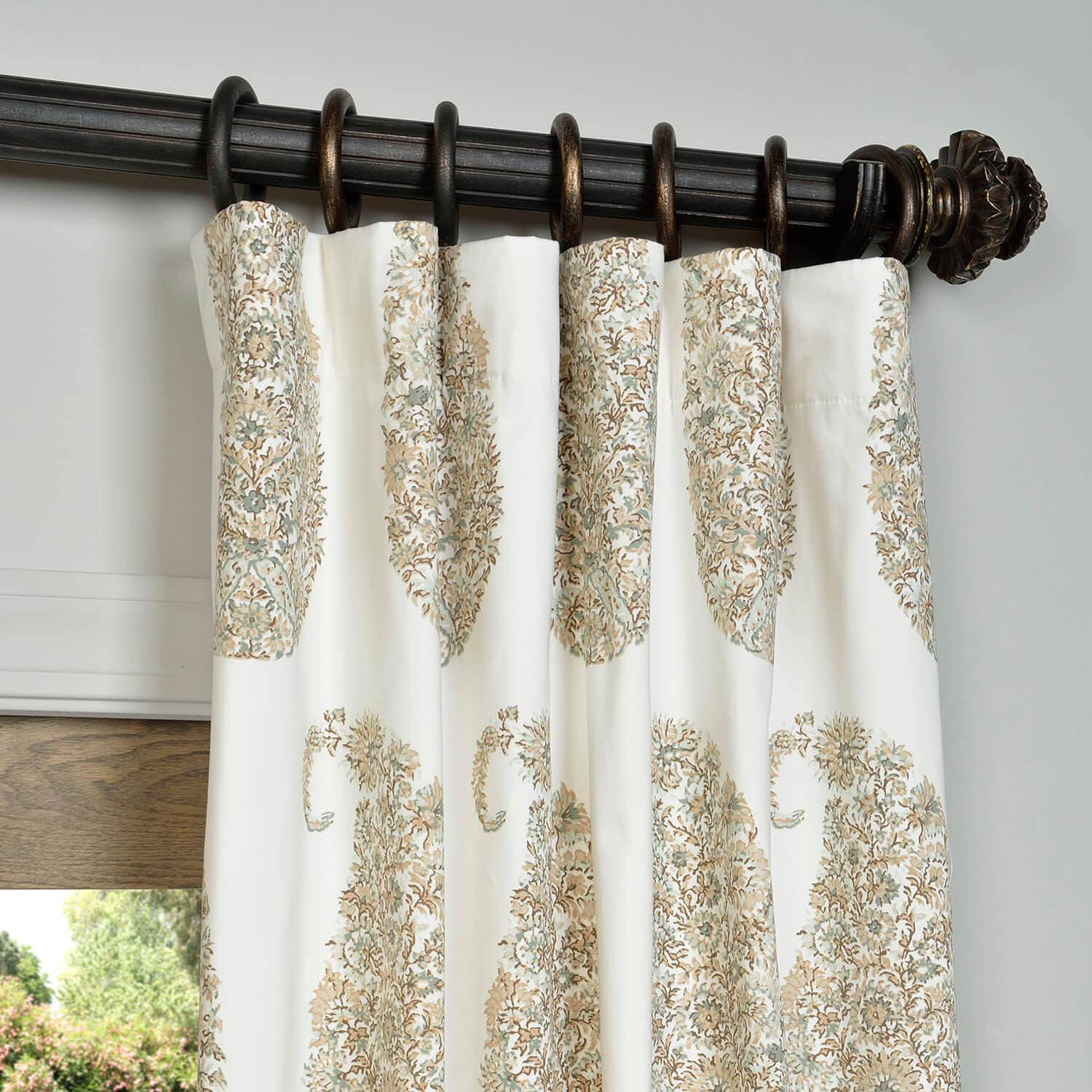 Paisley Park Tan Printed Cotton Twill Curtain