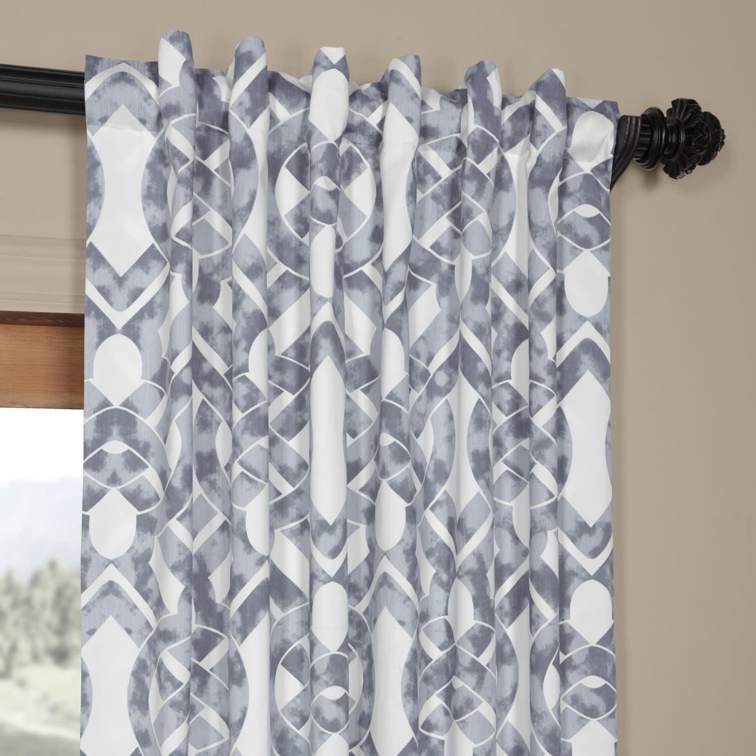 Celtic Blue Printed Cotton Twill Curtain