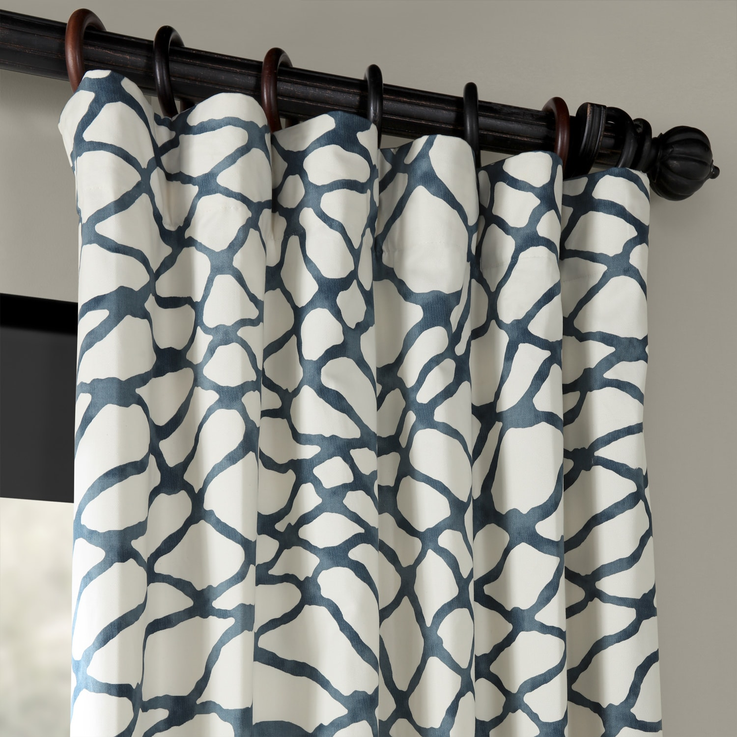 Ellis Blue Printed Cotton Twill Curtain