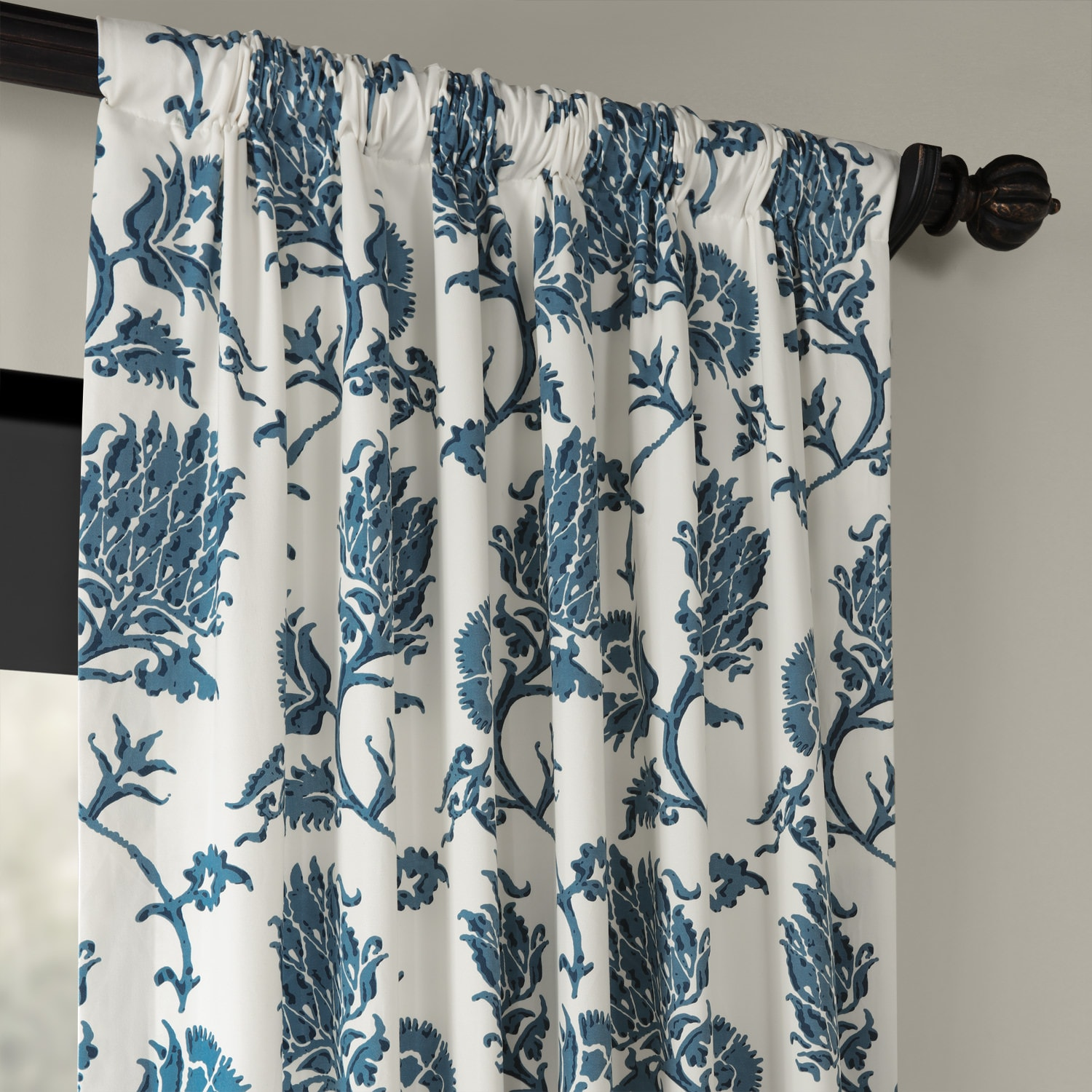 Duchess Blue Printed Cotton Twill Curtain