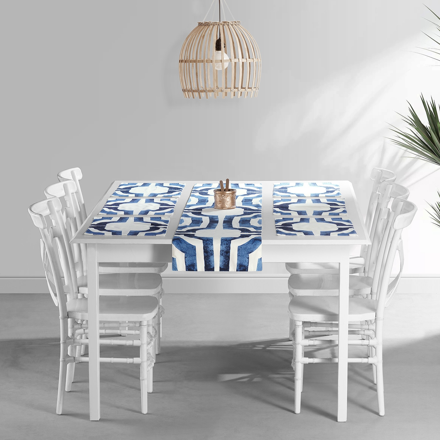 Mecca Blue Printed Cotton Table Runner & Placemats