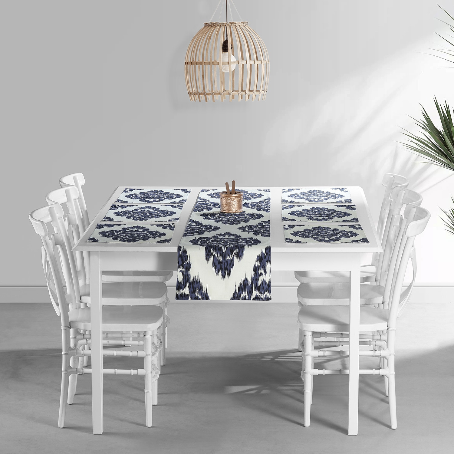 Ikat Blue Printed Cotton Table Runner & Placemats