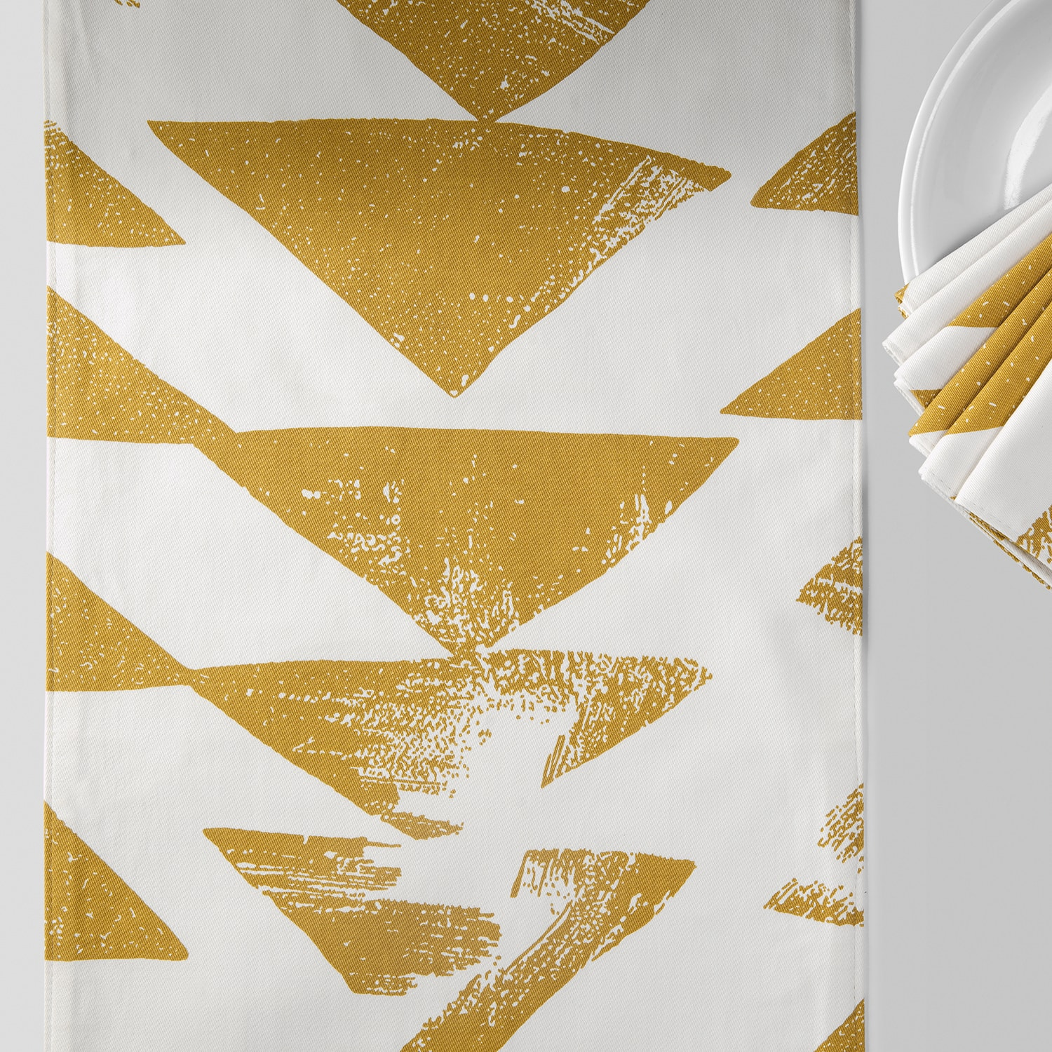 Triad Gold Printed Cotton Table Runner & Placemats