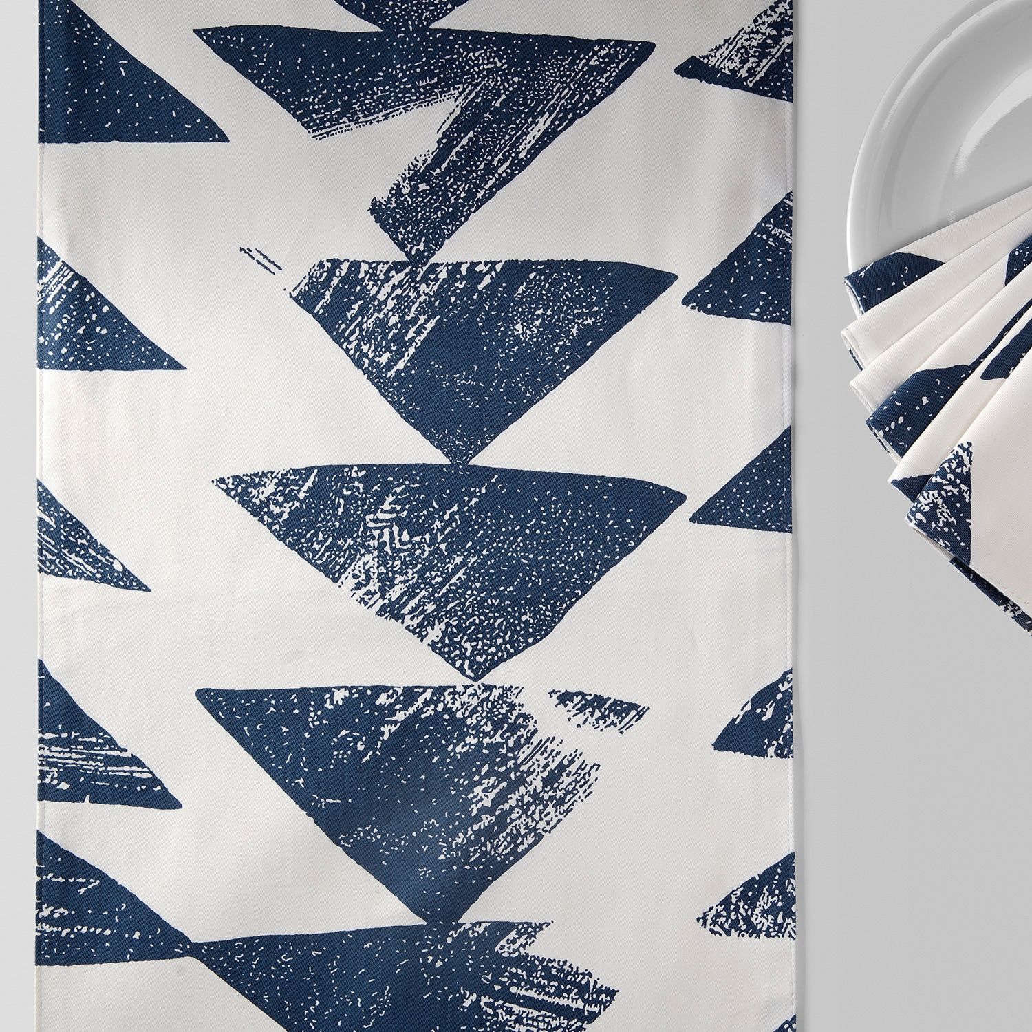 Triad Indigo Printed Cotton Table Runner & Placemats