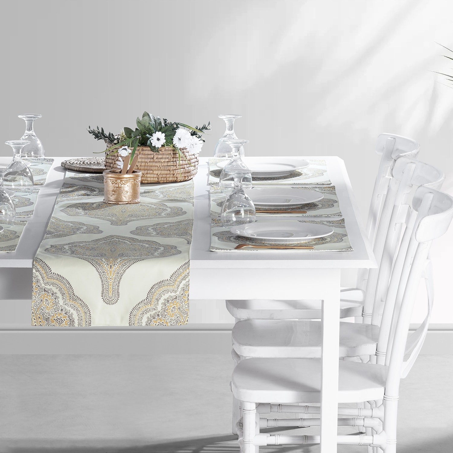 Arabesque Tan Printed Cotton Table Runner & Placemats