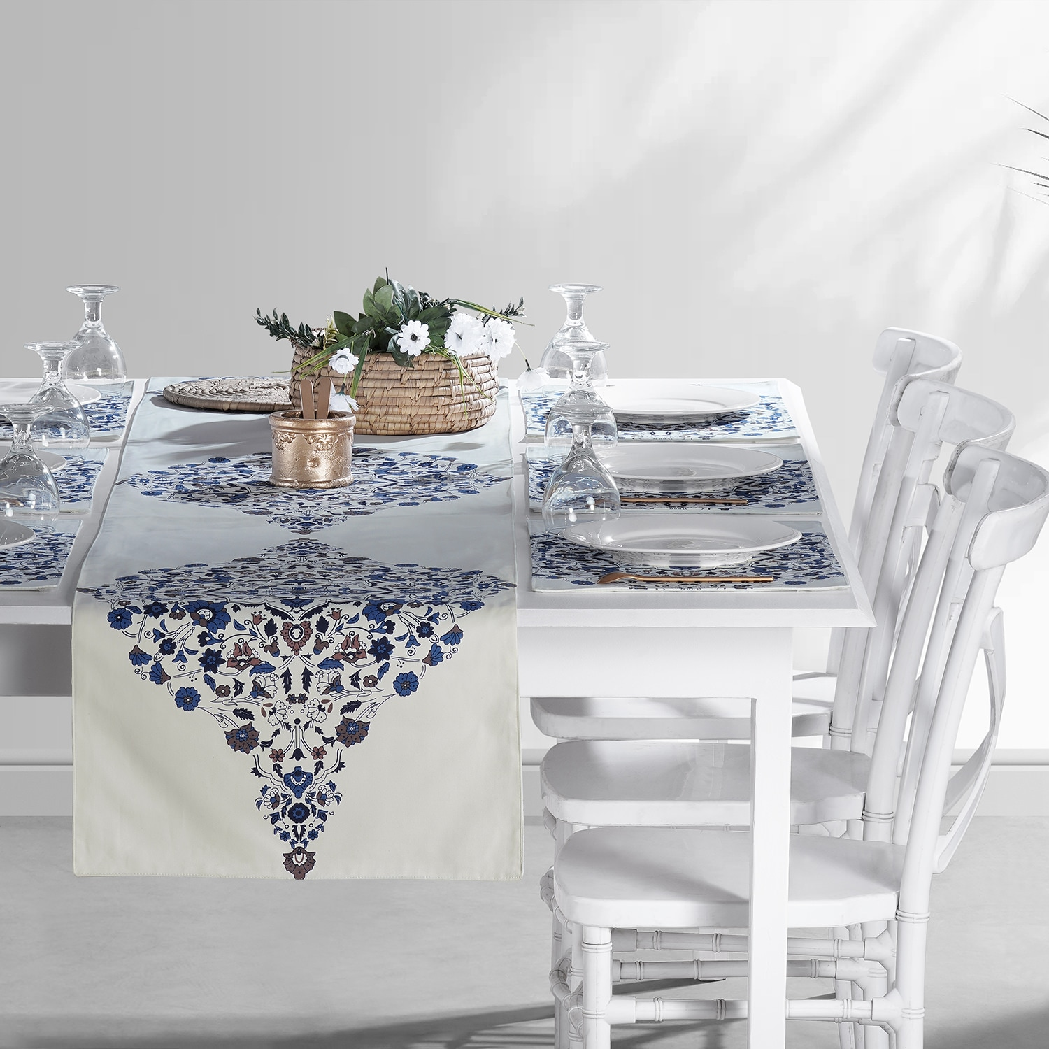 Kerala Blue Printed Cotton Table Runner & Placemats