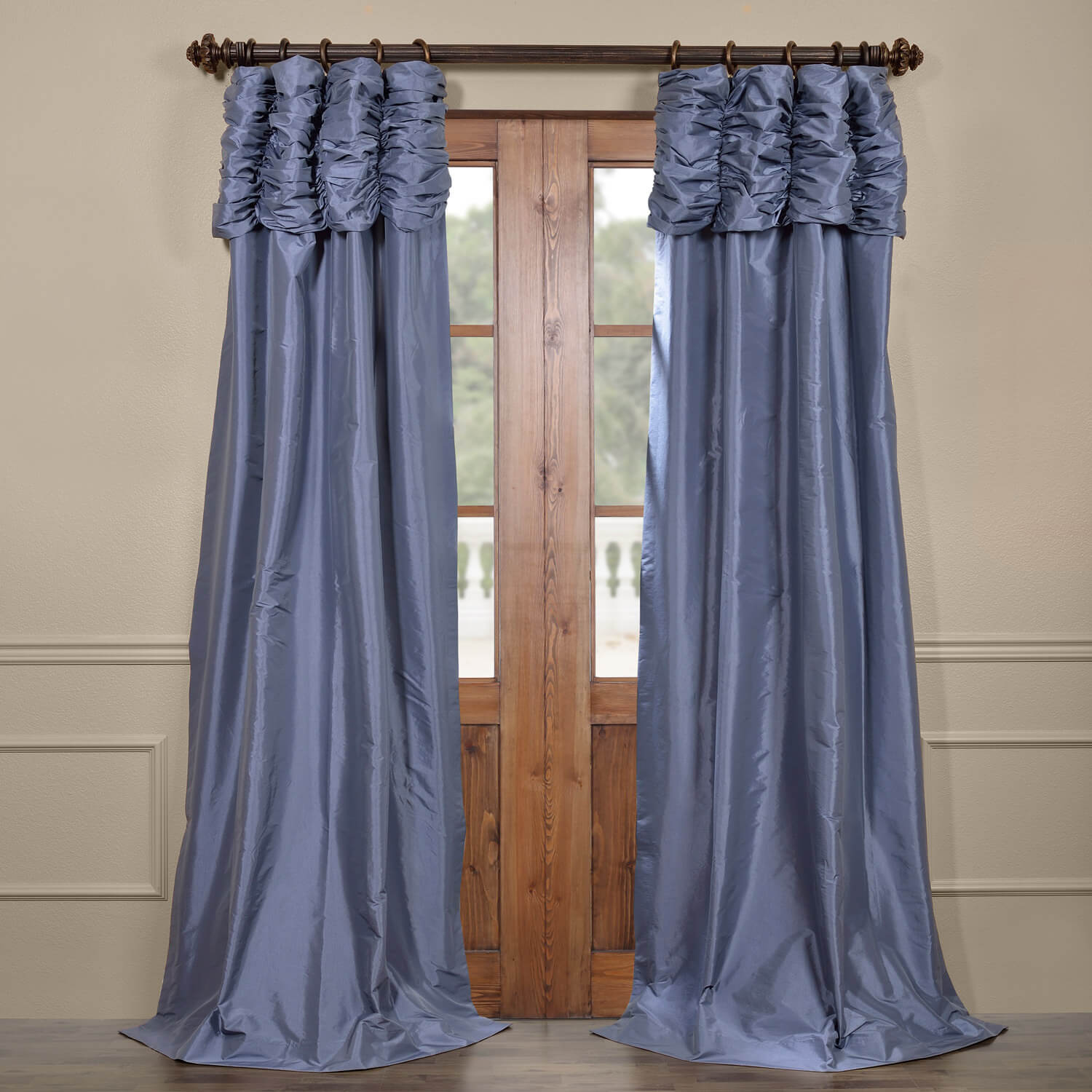 Coupon Wisteria Blue Ruched Faux Solid Taffeta Curtain Best Price