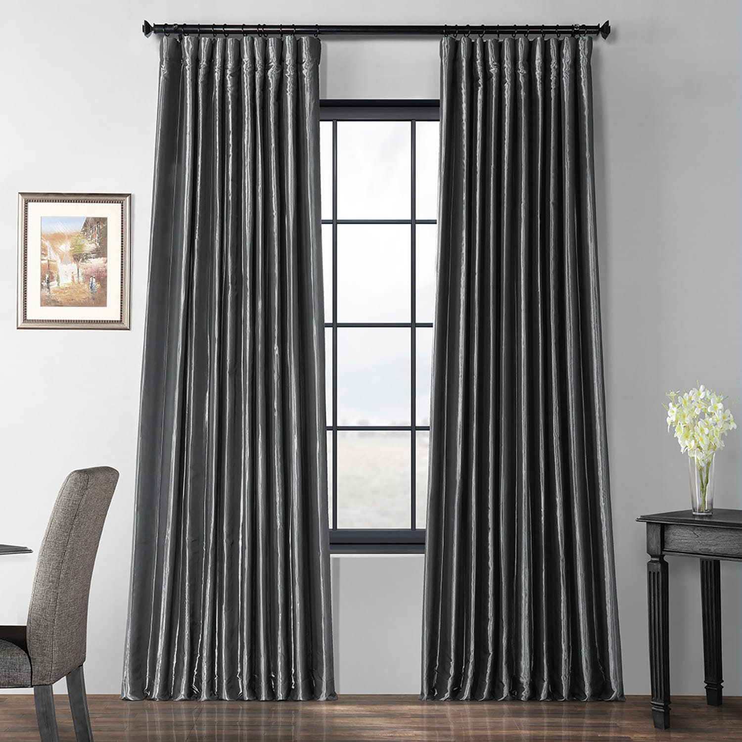 Burnished Hematite Blackout Extra Wide Faux Silk Taffeta Curtain