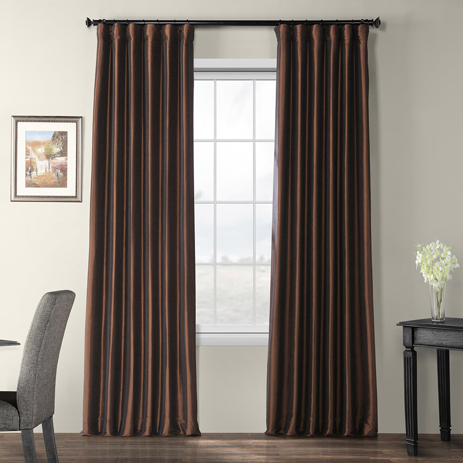 Rum Raisin Blackout Faux Silk Taffeta Curtain