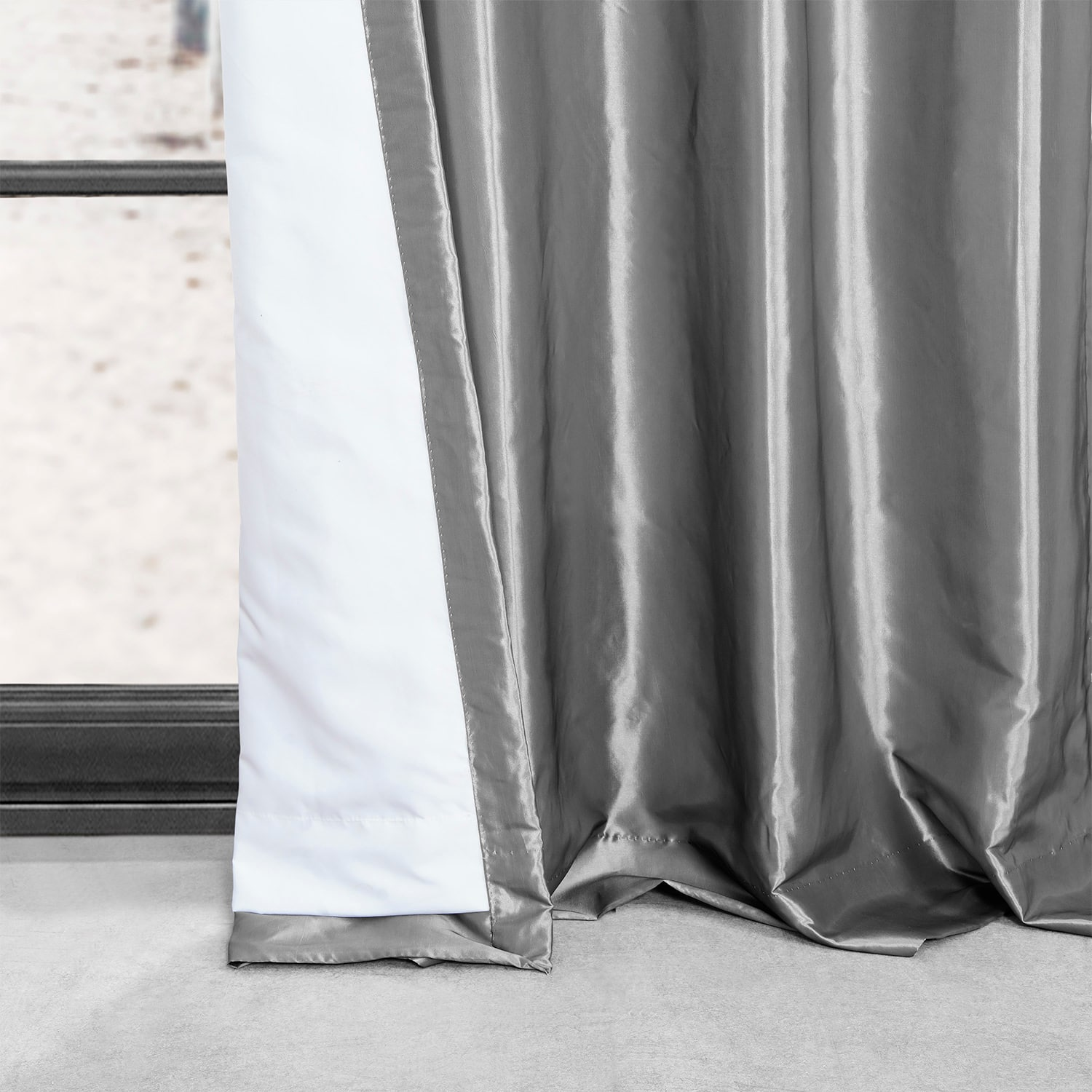 Platinum Grommet Blackout Faux Silk Taffeta Curtain