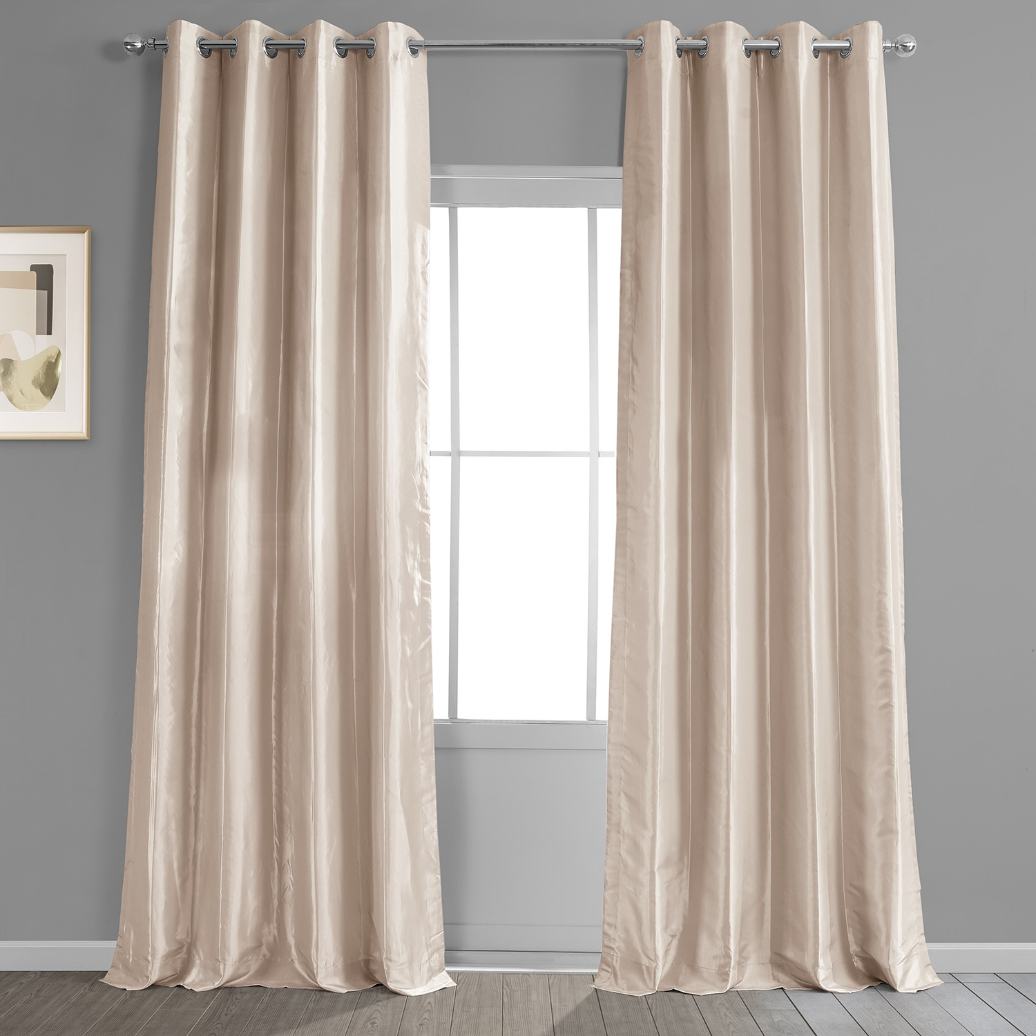 Buy online antique beige grommet blackout faux silk for Where to buy drapes
