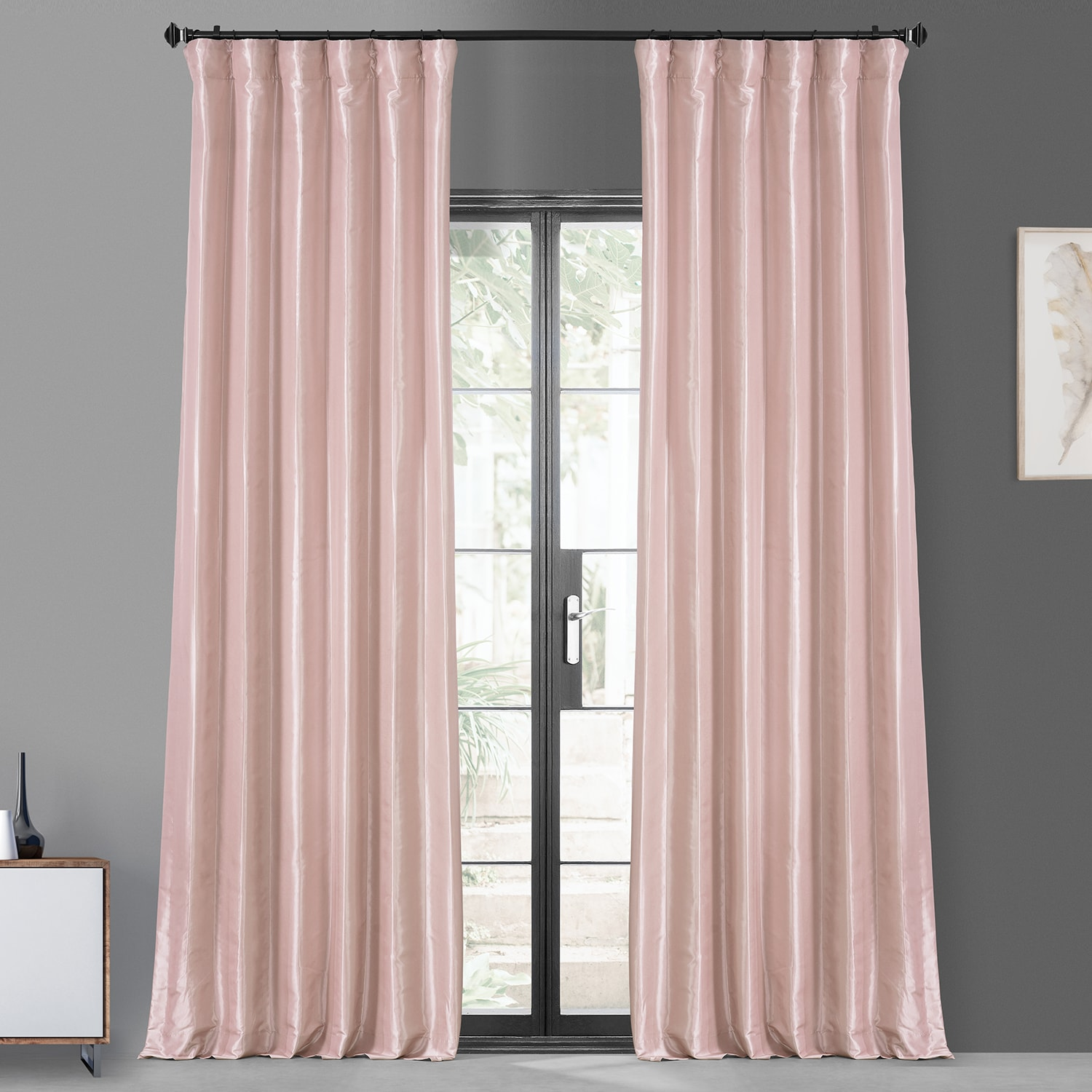 Salmon Rose Blackout Faux Silk Taffeta Curtain