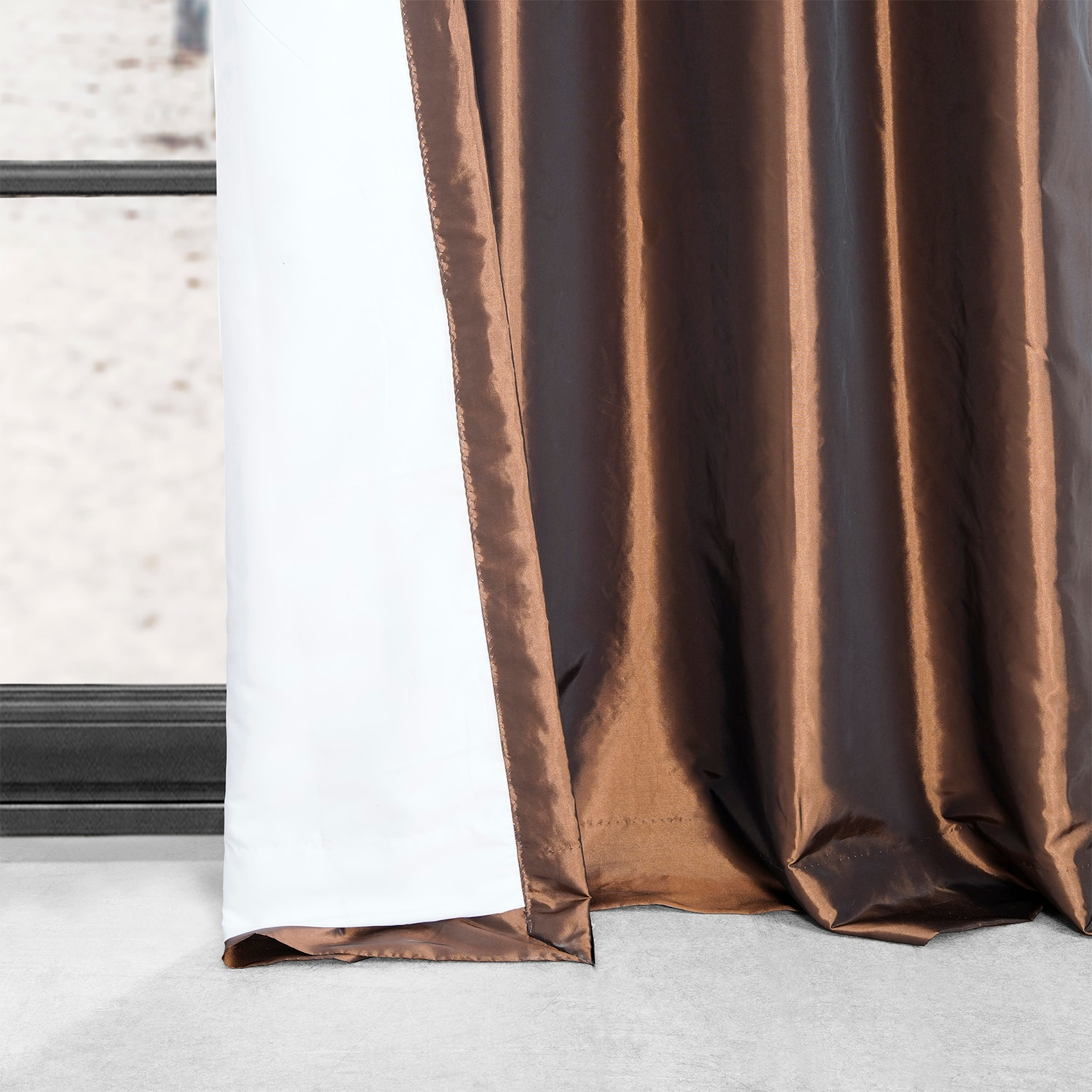 Copper Brown Grommet Blackout Faux Silk Taffeta Curtain