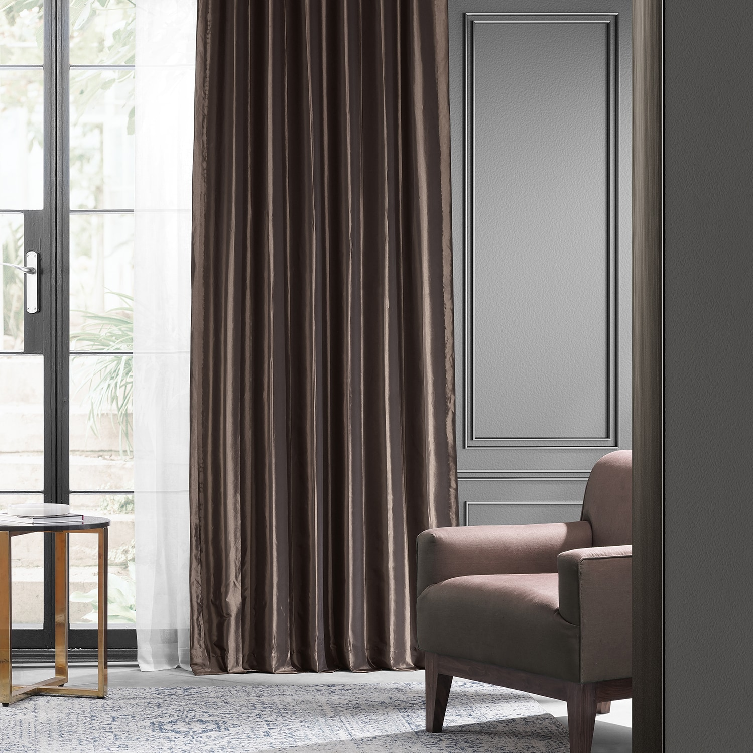 Where to find mushroom blackout faux silk taffeta for Where to buy curtain panels