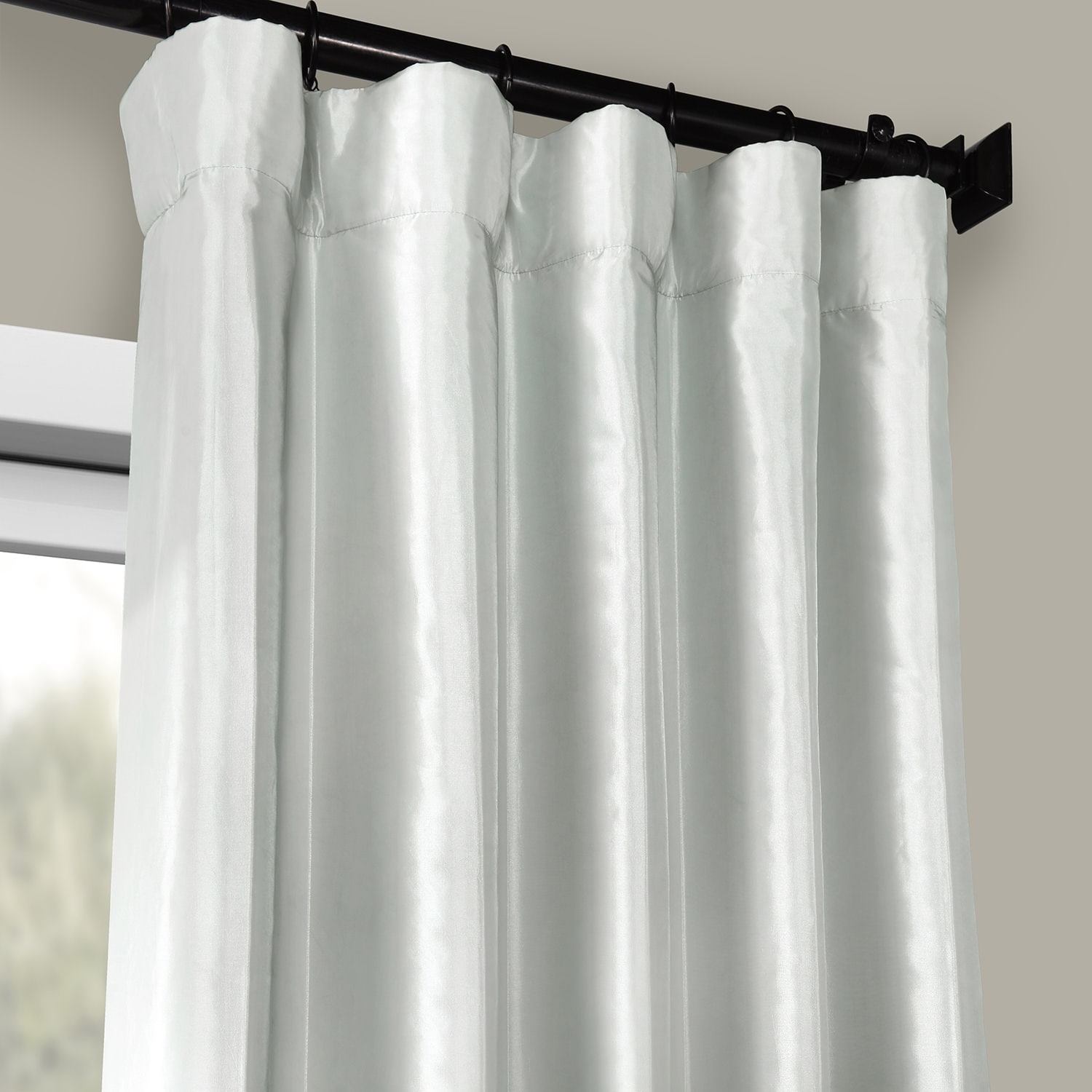 Pearl Grey Blackout Faux Silk Taffeta Curtain