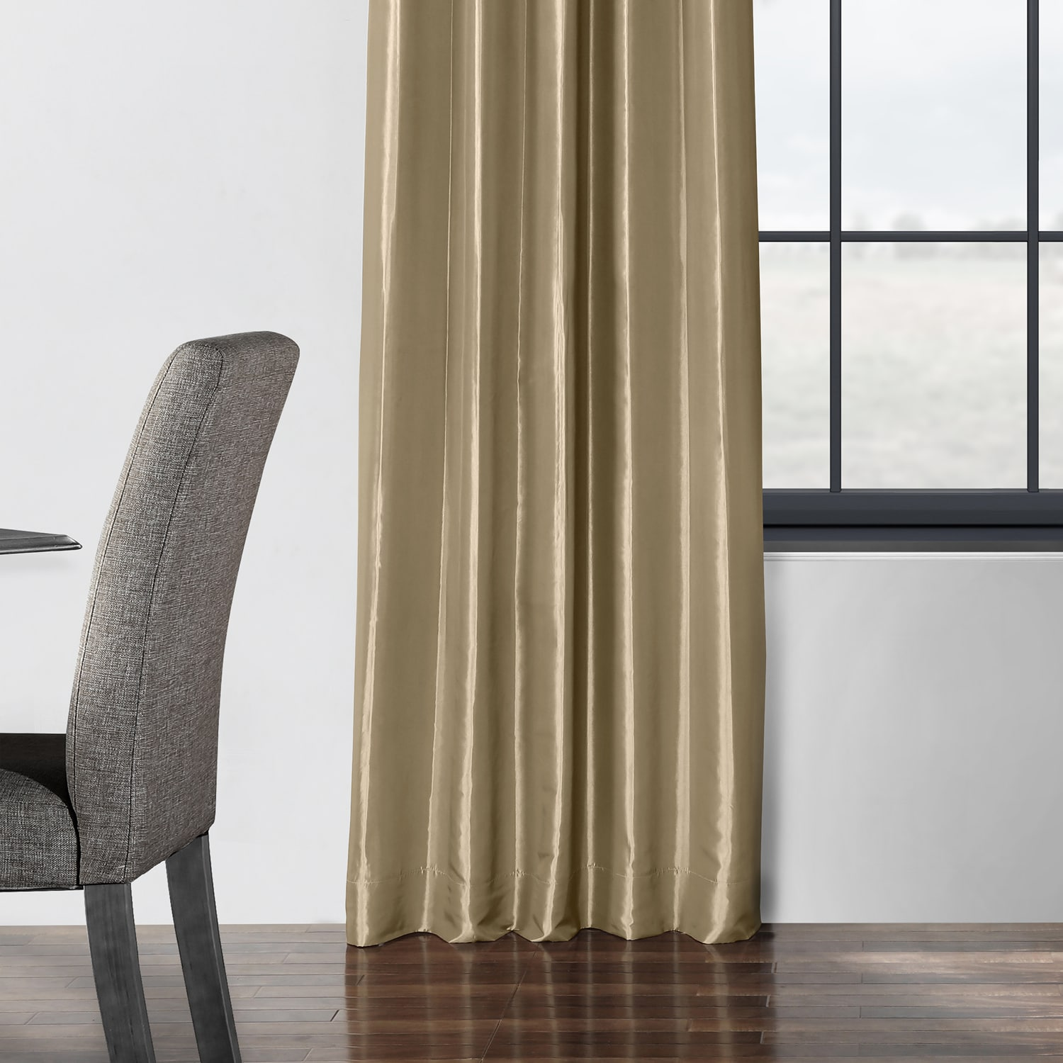 Tuscan Tan Blackout Faux Silk Taffeta Curtain