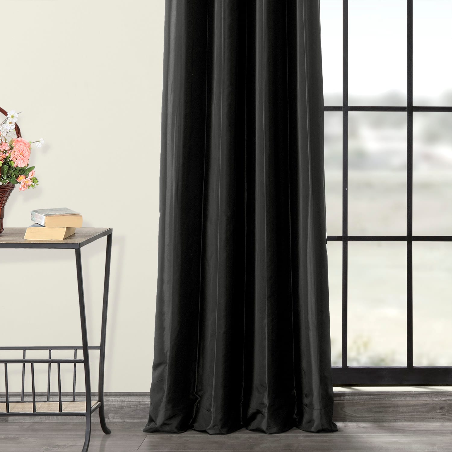 Black Grommet Blackout Faux Silk Taffeta Curtain