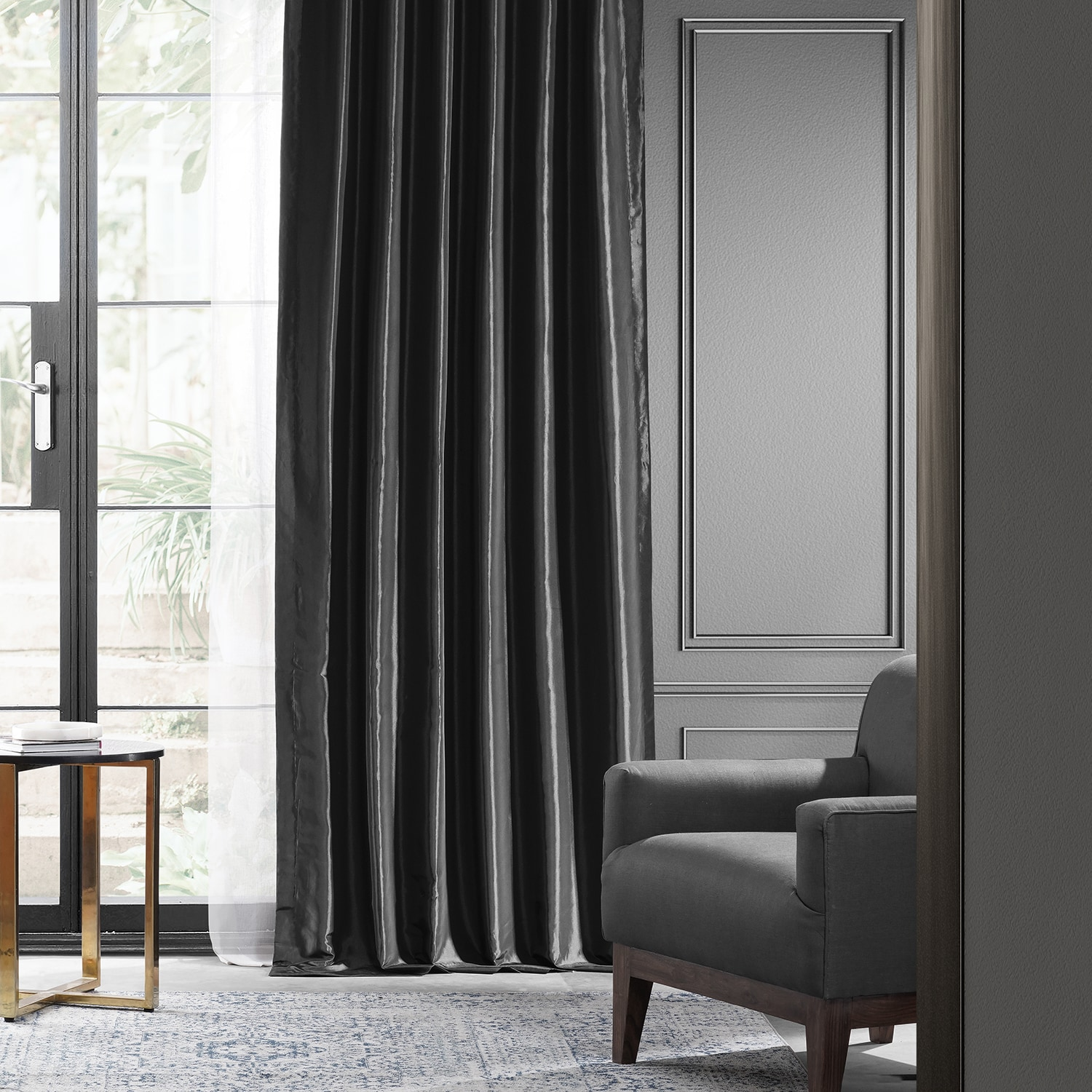 Black Blackout Faux Silk Taffeta Curtain