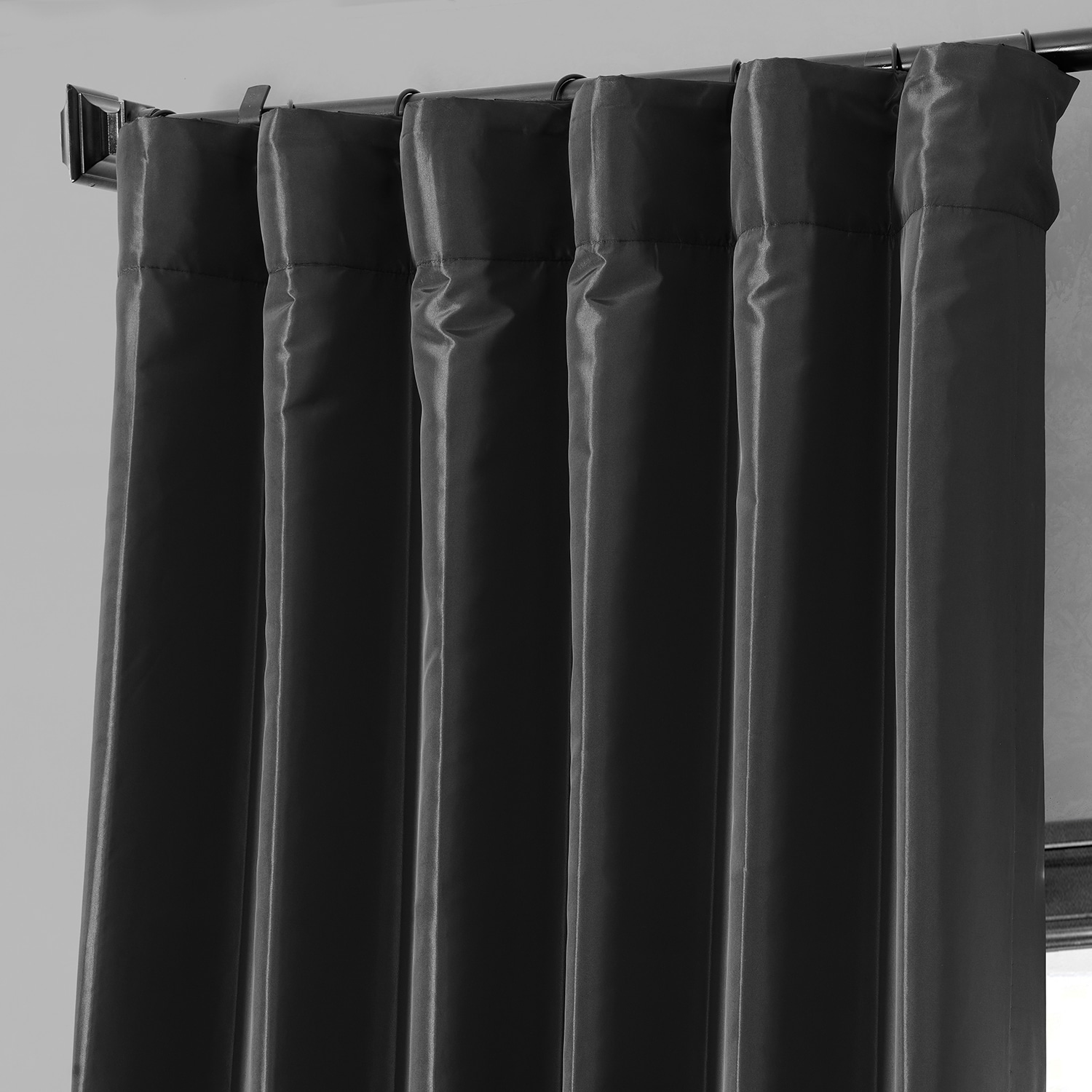 faux silk curtains black blackout faux silk taffeta curtains drapes 10803
