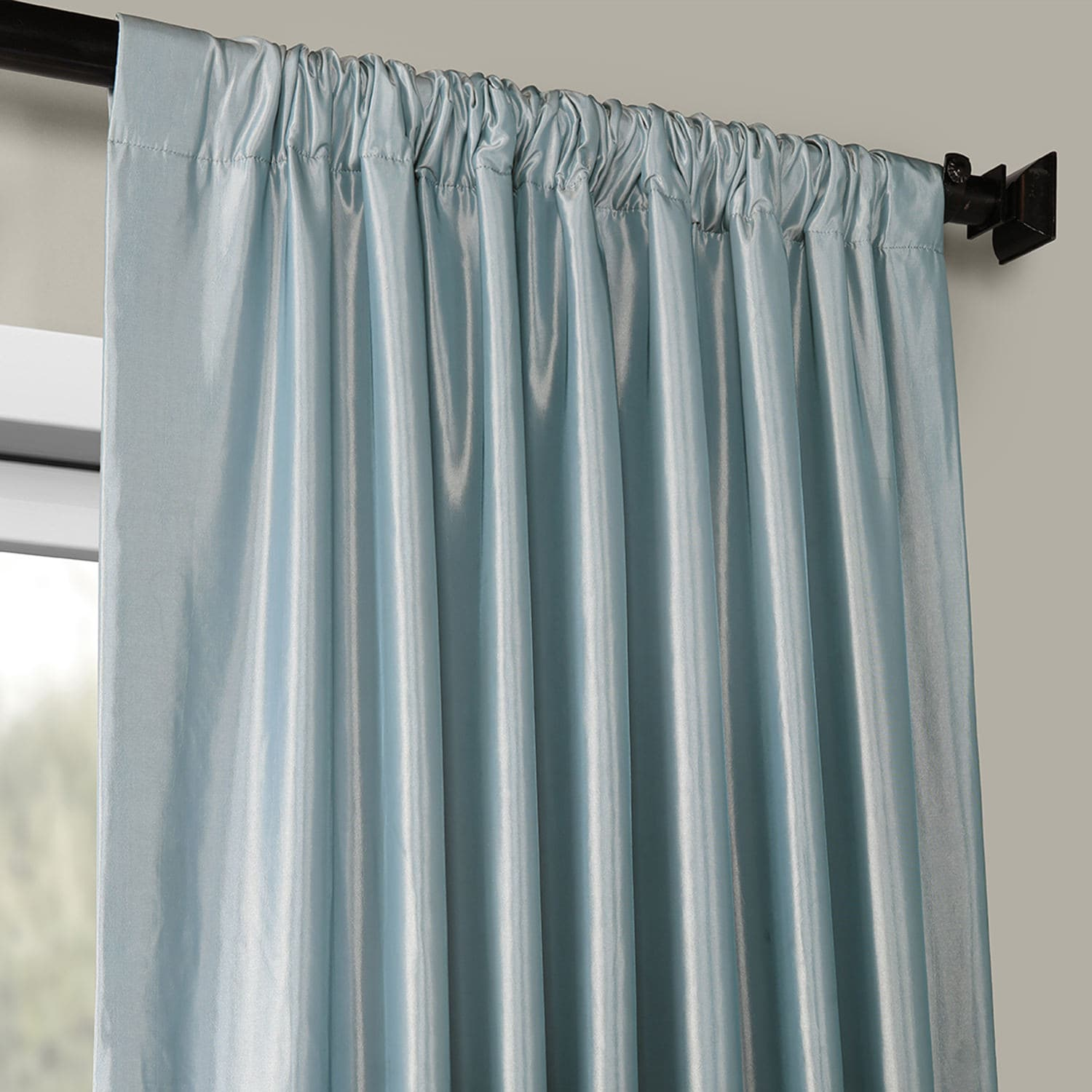 Winter Ice Blackout Faux Silk Taffeta Curtain