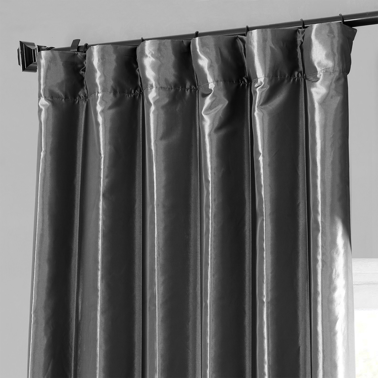 Buy Graphite Faux Silk Taffeta Curtains Drapes