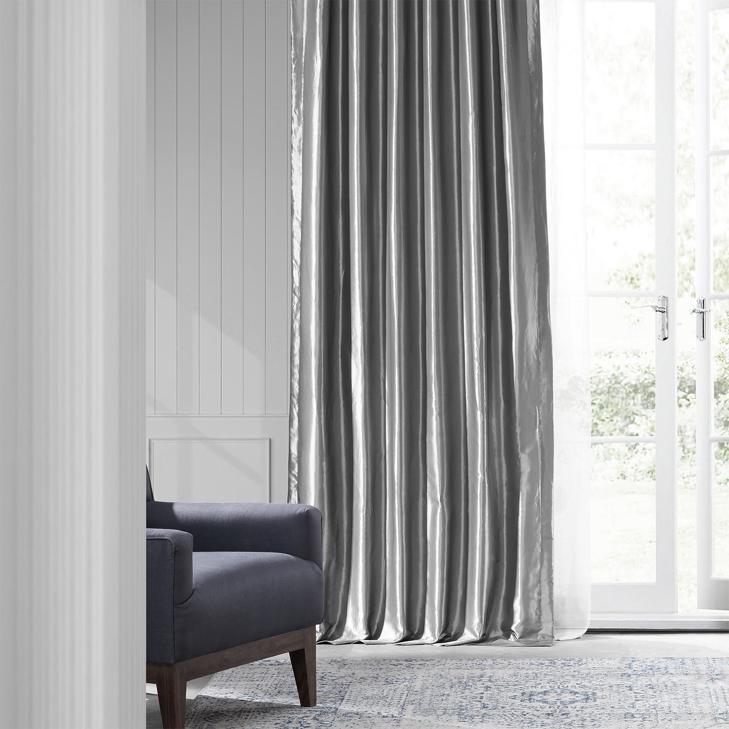 be06a5ad1a Faux Silk Taffeta Curtains in Platinum | Half Price Drapes