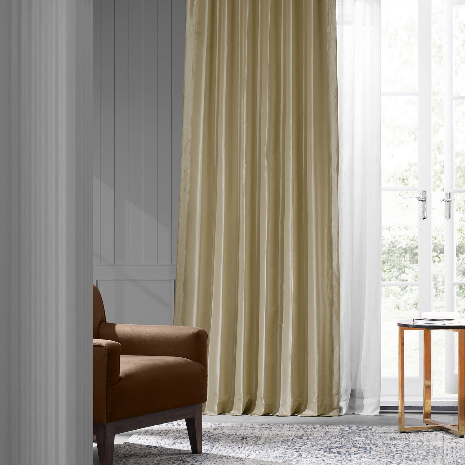 Soft Gold Faux Silk Taffeta Curtain