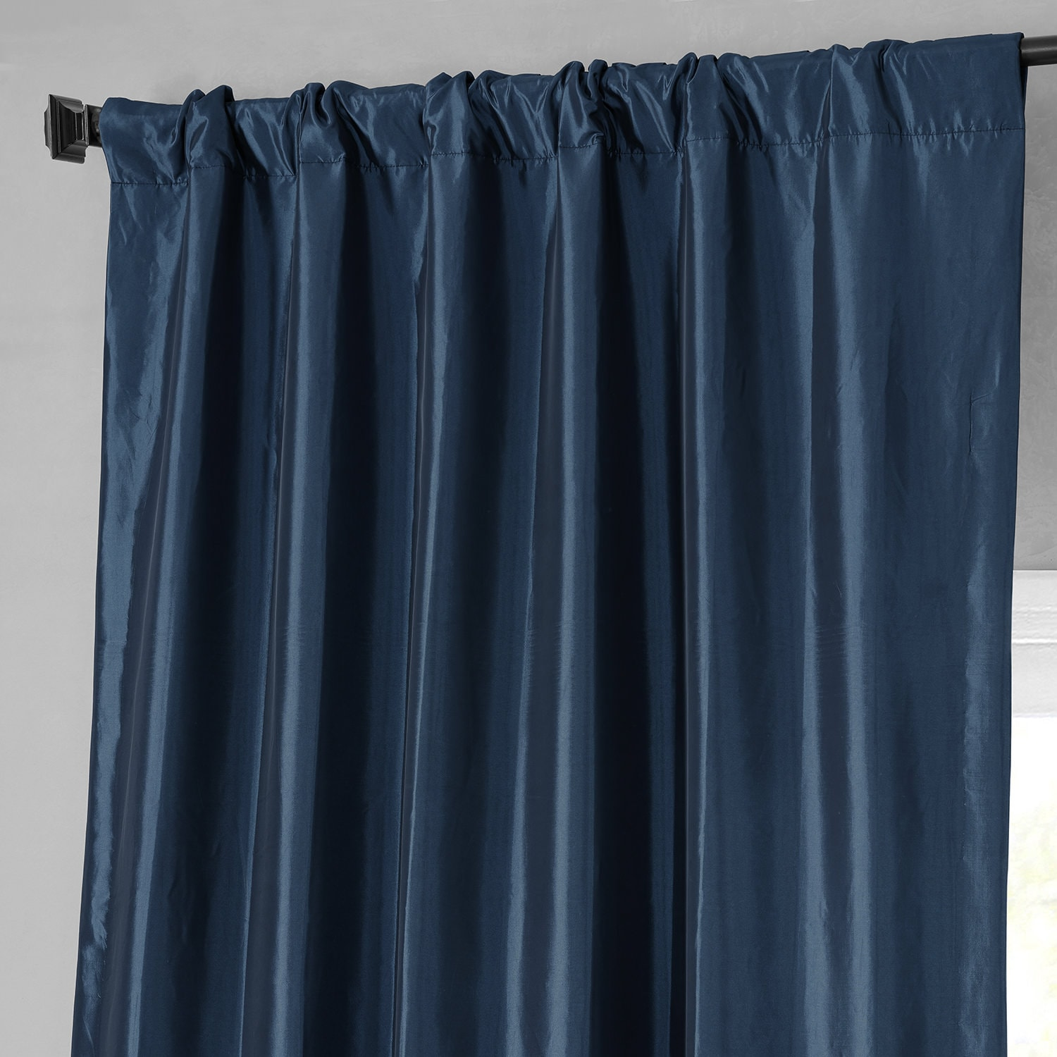 Buy Navy Blue Faux Silk Taffeta Curtains Amp Drapes