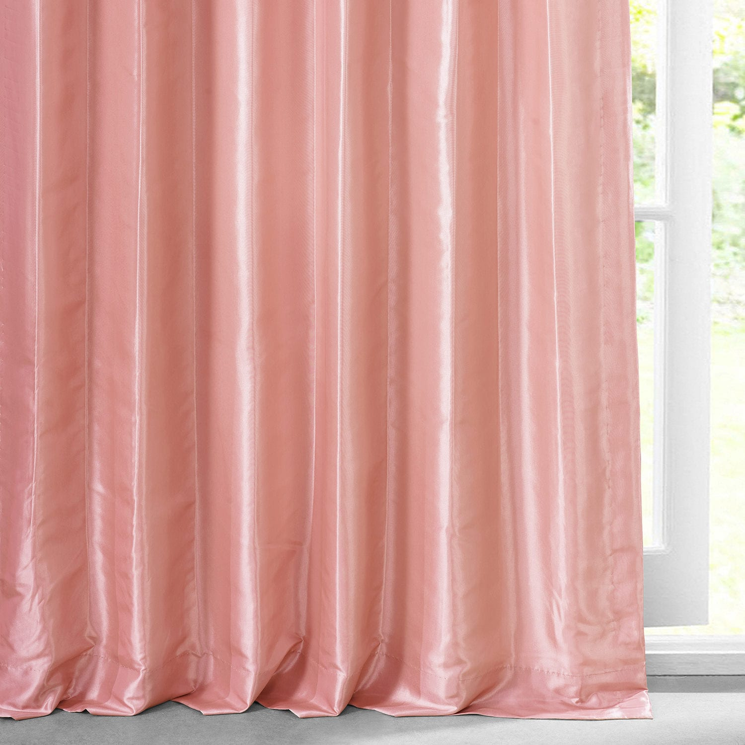 Flamingo Pink  Faux Silk Taffeta Curtain