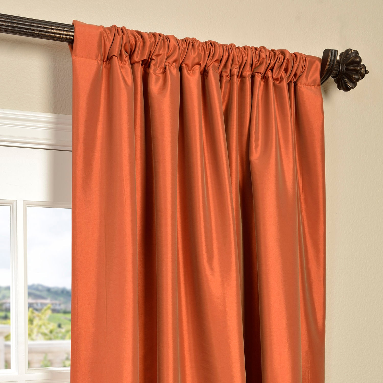 Harvest Orange Faux Silk Taffeta Curtain