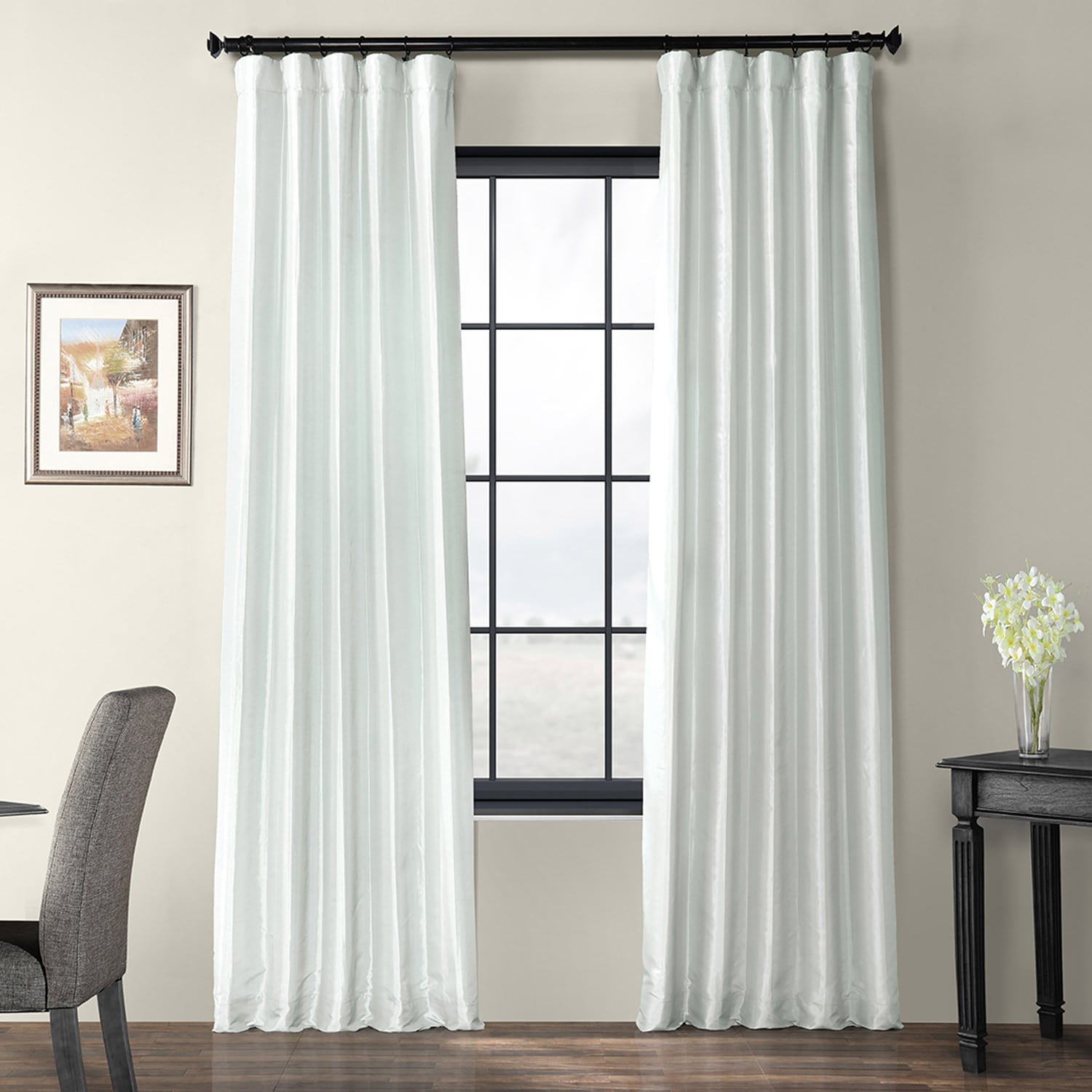 Pearl Grey Faux Silk Taffeta Curtain