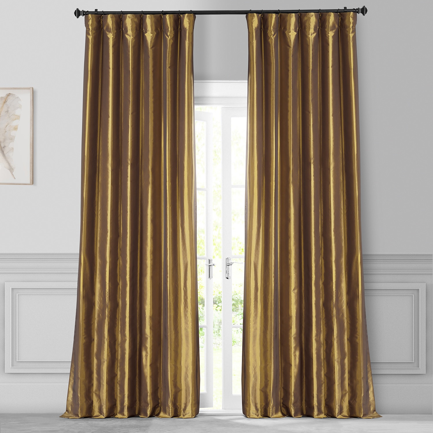 Golden Spice Faux Silk Taffeta Curtain