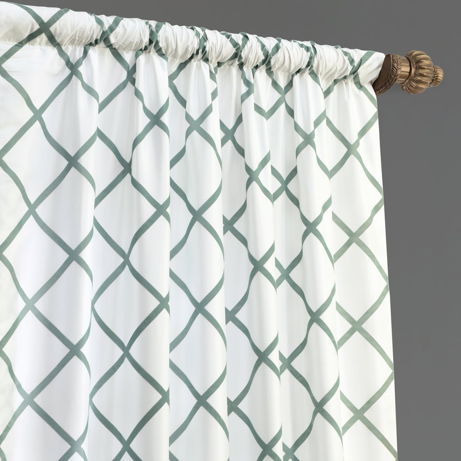 Pavillion White & Green Designer Flocked Curtain