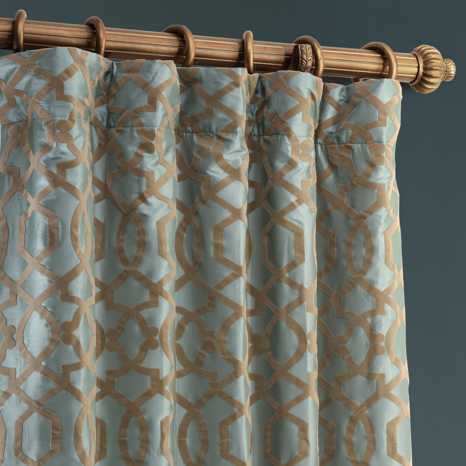 Filigree Blue & Brown Designer Flocked Curtain