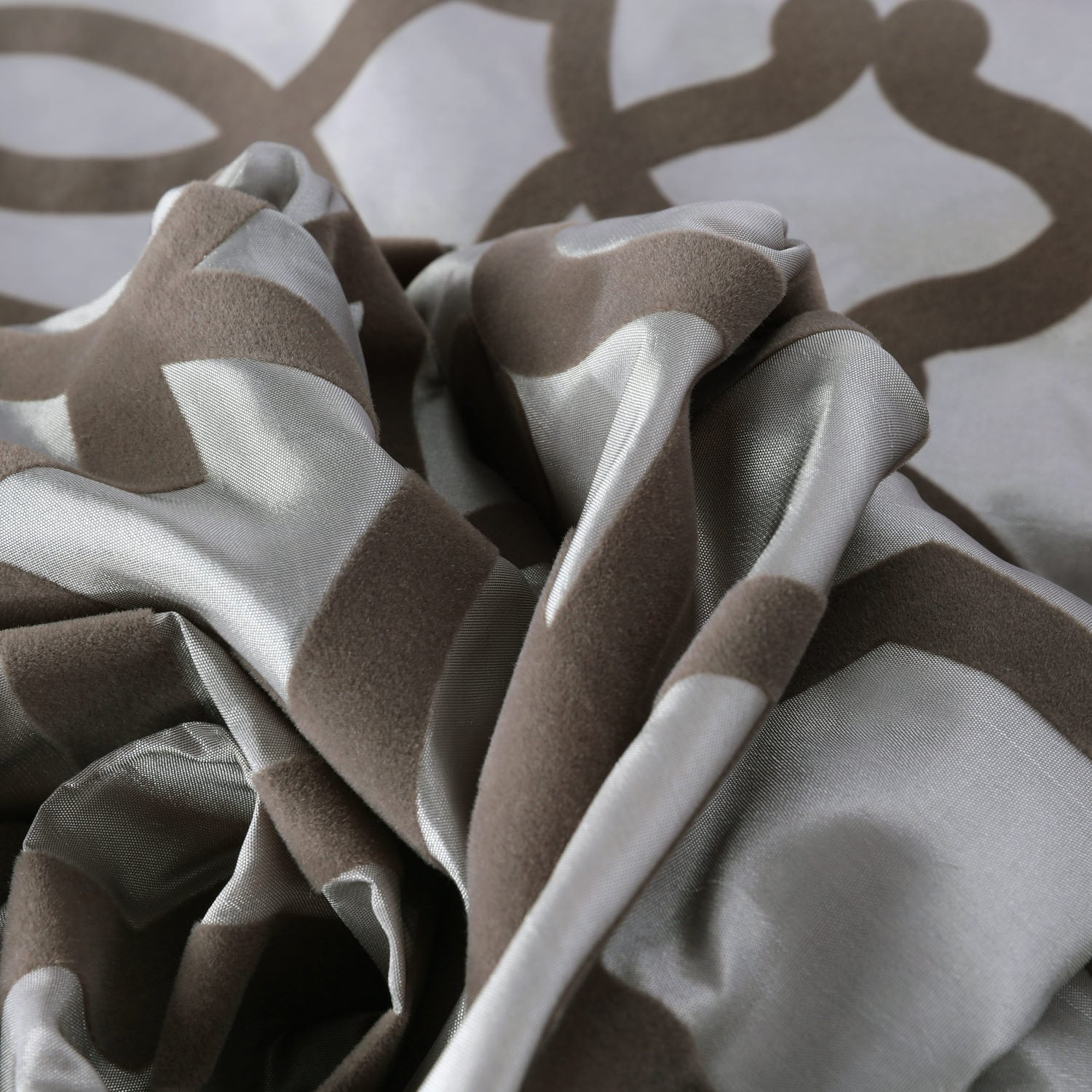 Filigree Silver & Pewter Flocked Faux Silk Swatch