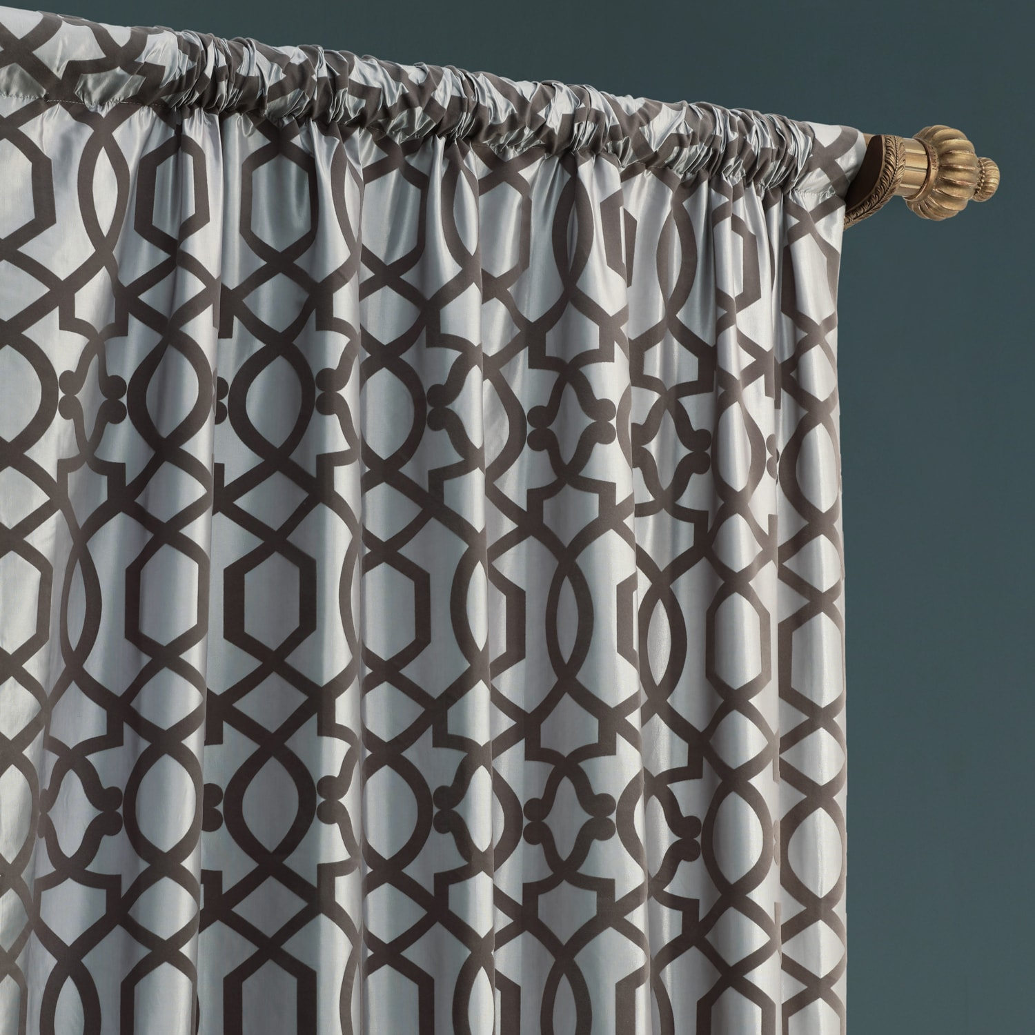 Filigree Grey & Pewter Designer Flocked Curtain