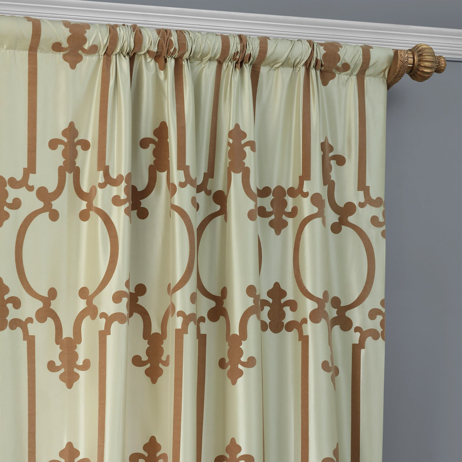 Royal Gate Sage & Amber Flocked Faux Silk Curtain