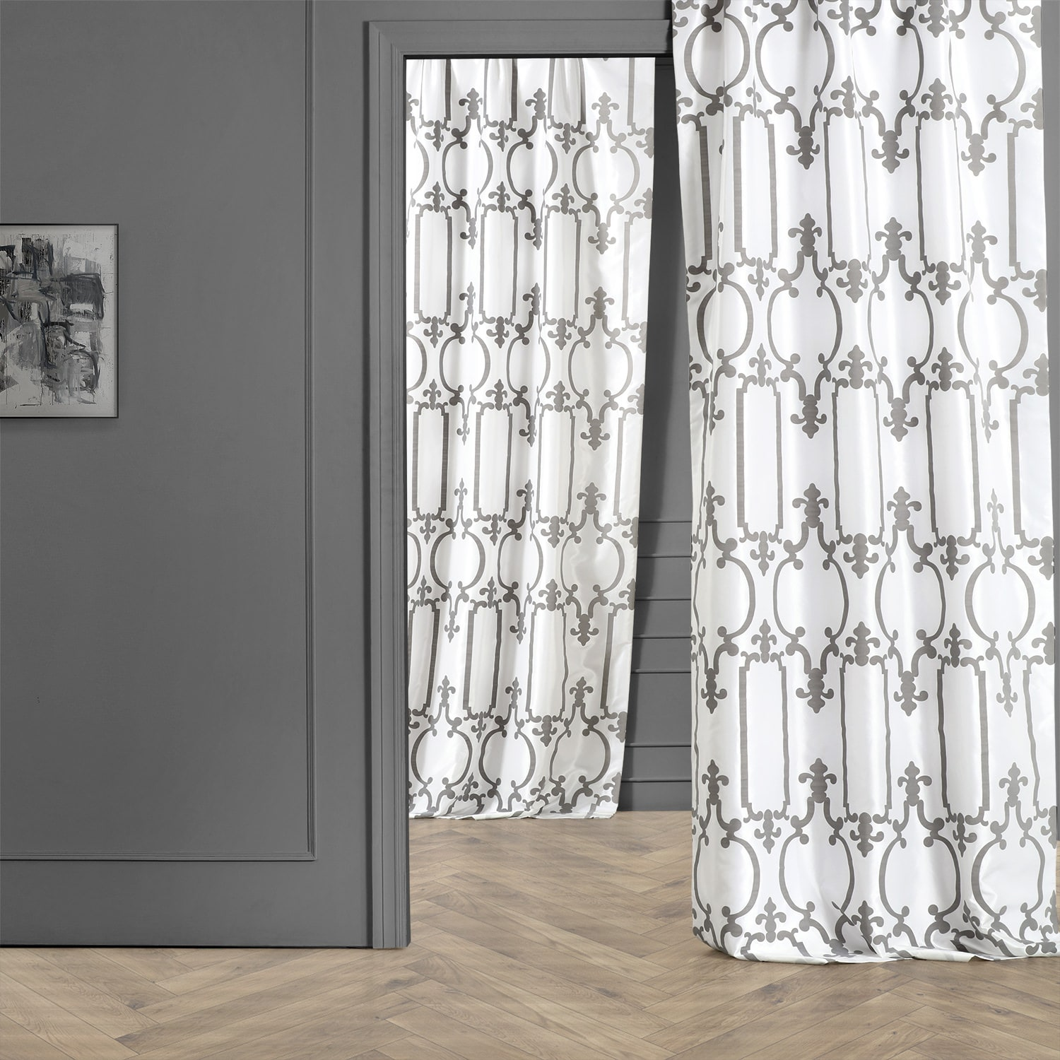 Royal Gate Off White & Silver Designer Flocked Curtain