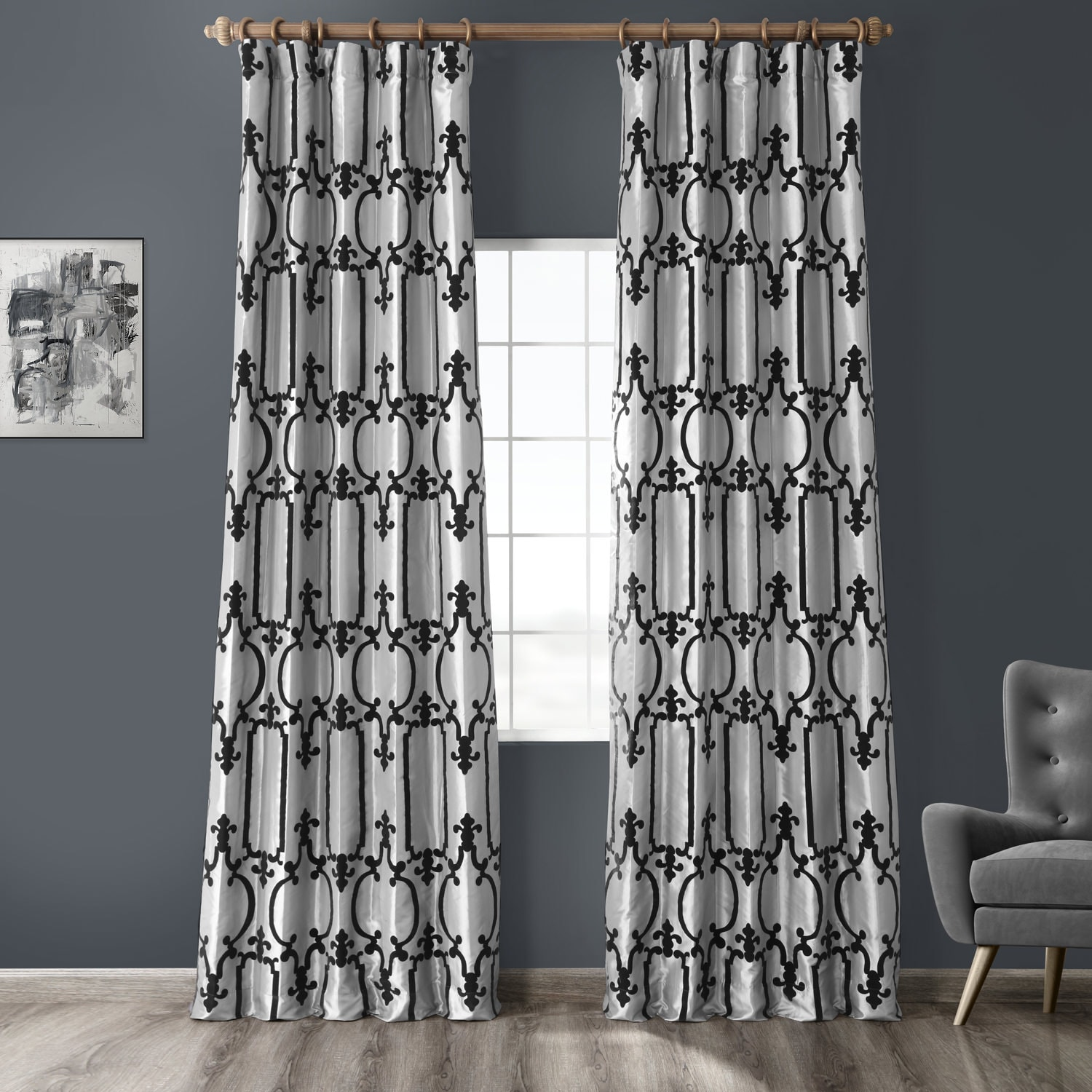 Royal Gate Silver & Black Flocked Faux Silk Curtain
