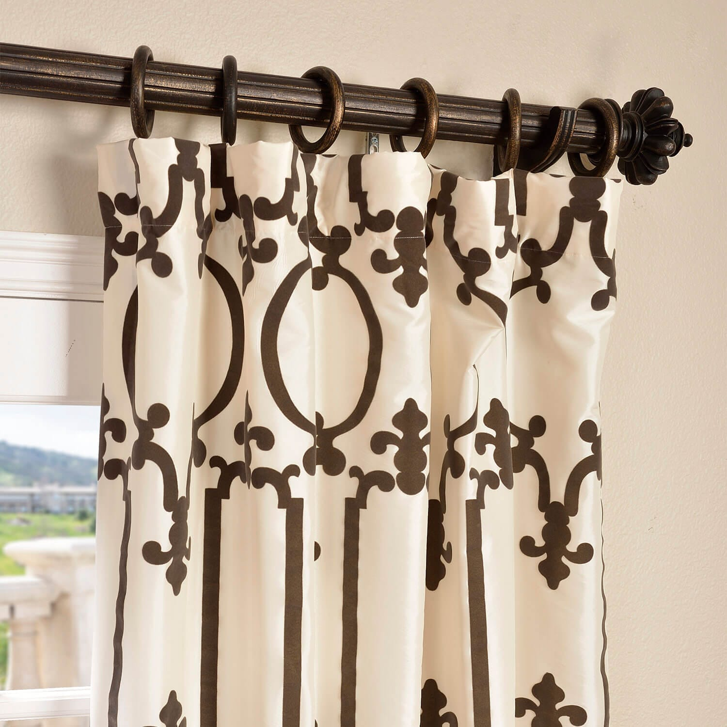 Royal Gate Off White & Brown Designer Flocked Curtain